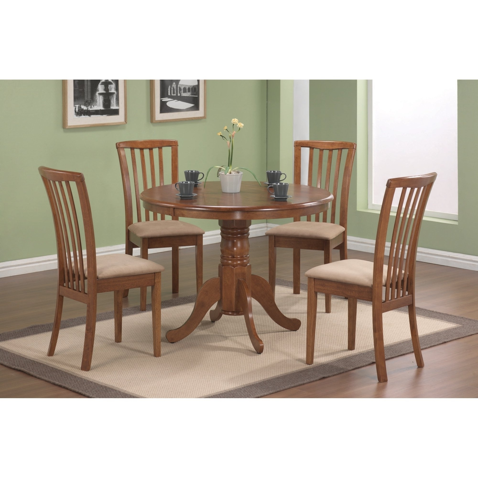 Well Known Caden 5 Piece Round Dining Sets With Upholstered Side Chairs For Brannan Casual Oak 5 Piece Dining Set – Free Shipping Today (View 22 of 25)