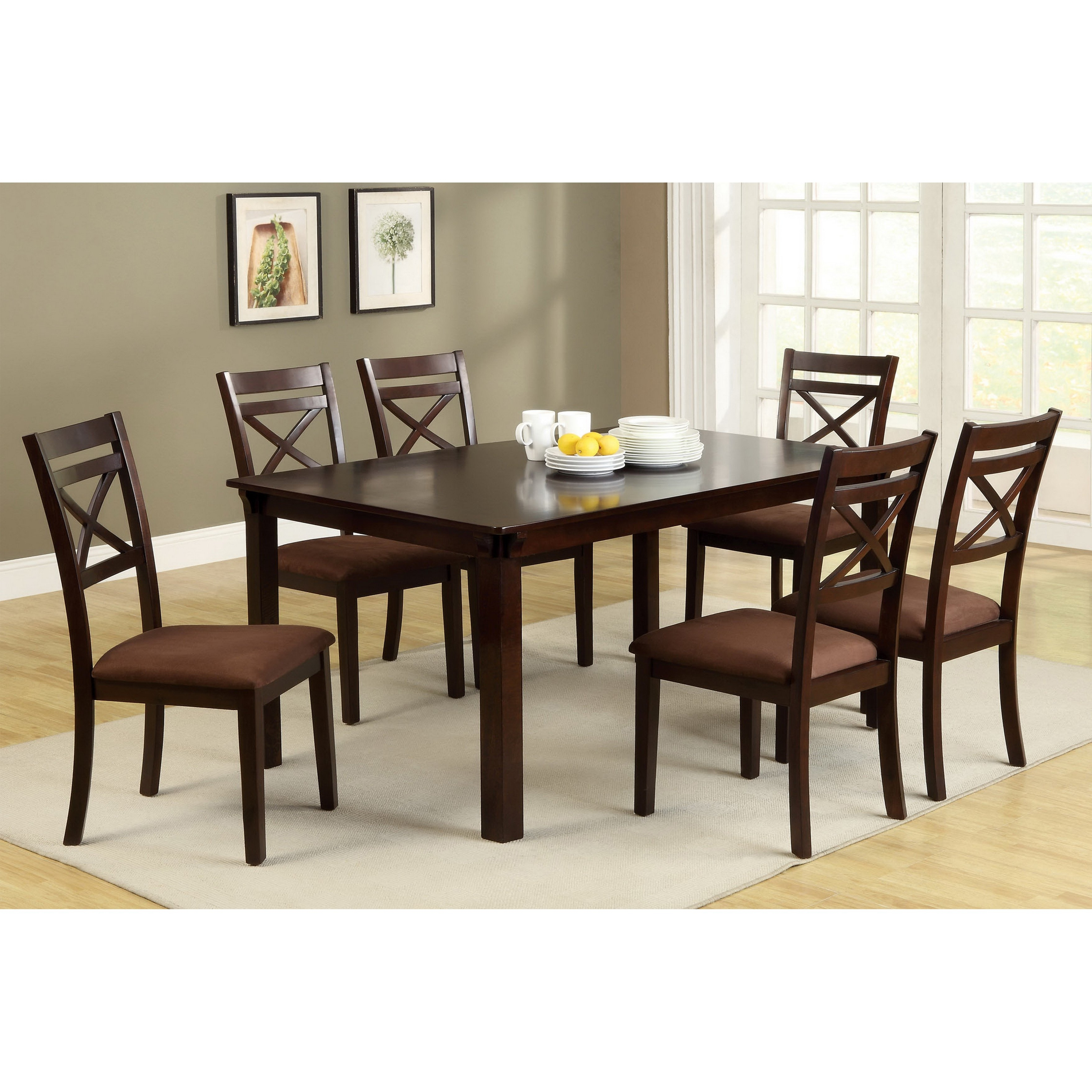 Well Known Caden 6 Piece Rectangle Dining Sets Regarding Furniture Of America Dietric Espresso Finish 7 Piece Dining Set (View 25 of 25)