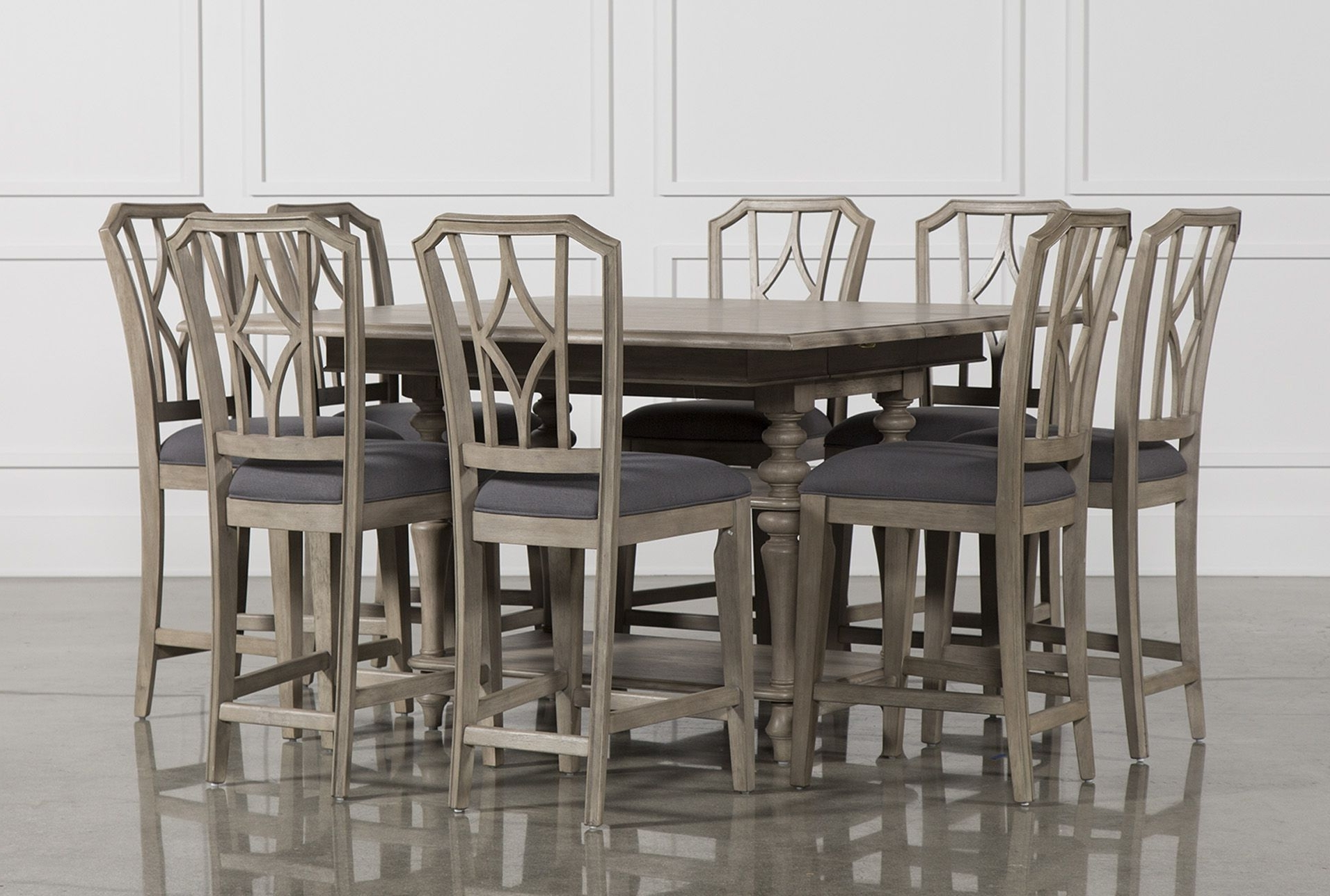 Well Known Caira 9 Piece Extension Dining Sets Intended For 9 Piece Extension Counter Set W/diamond Back Stool, Caira, Grey (View 1 of 25)