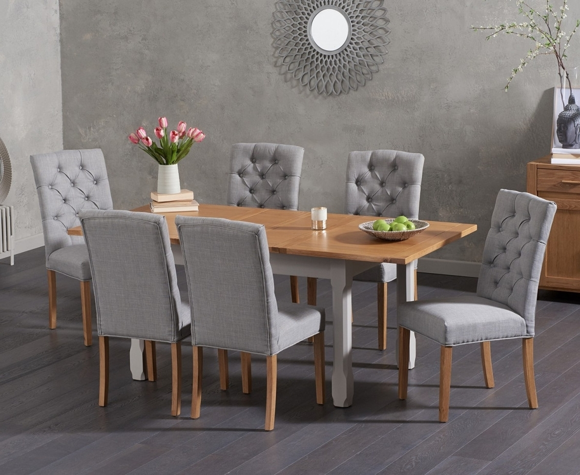 Well Known Candice Ii 7 Piece Extension Rectangle Dining Sets Within Somerset 130Cm Oak And Grey Extending Dining Table With Candice Grey (View 15 of 25)