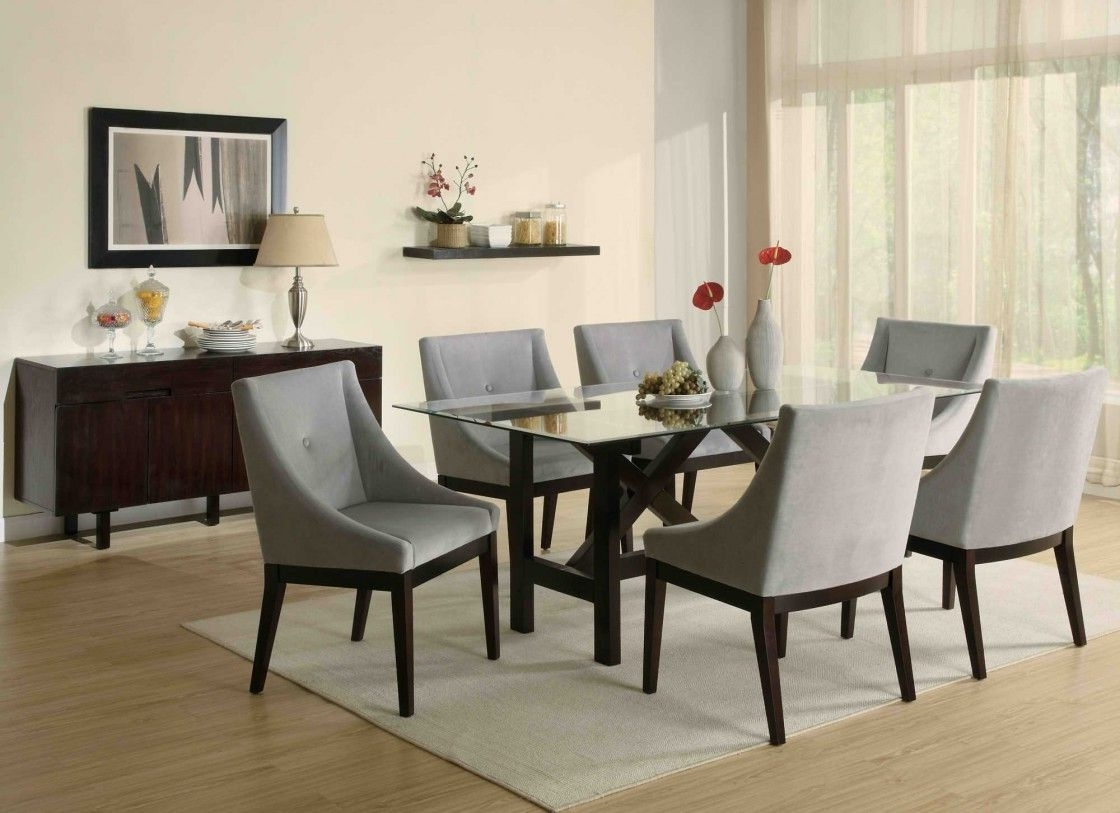 Well Known Captivating Dining Room Design Presenting Rectangle Glass Dining For Dining Tables And Fabric Chairs (View 23 of 25)