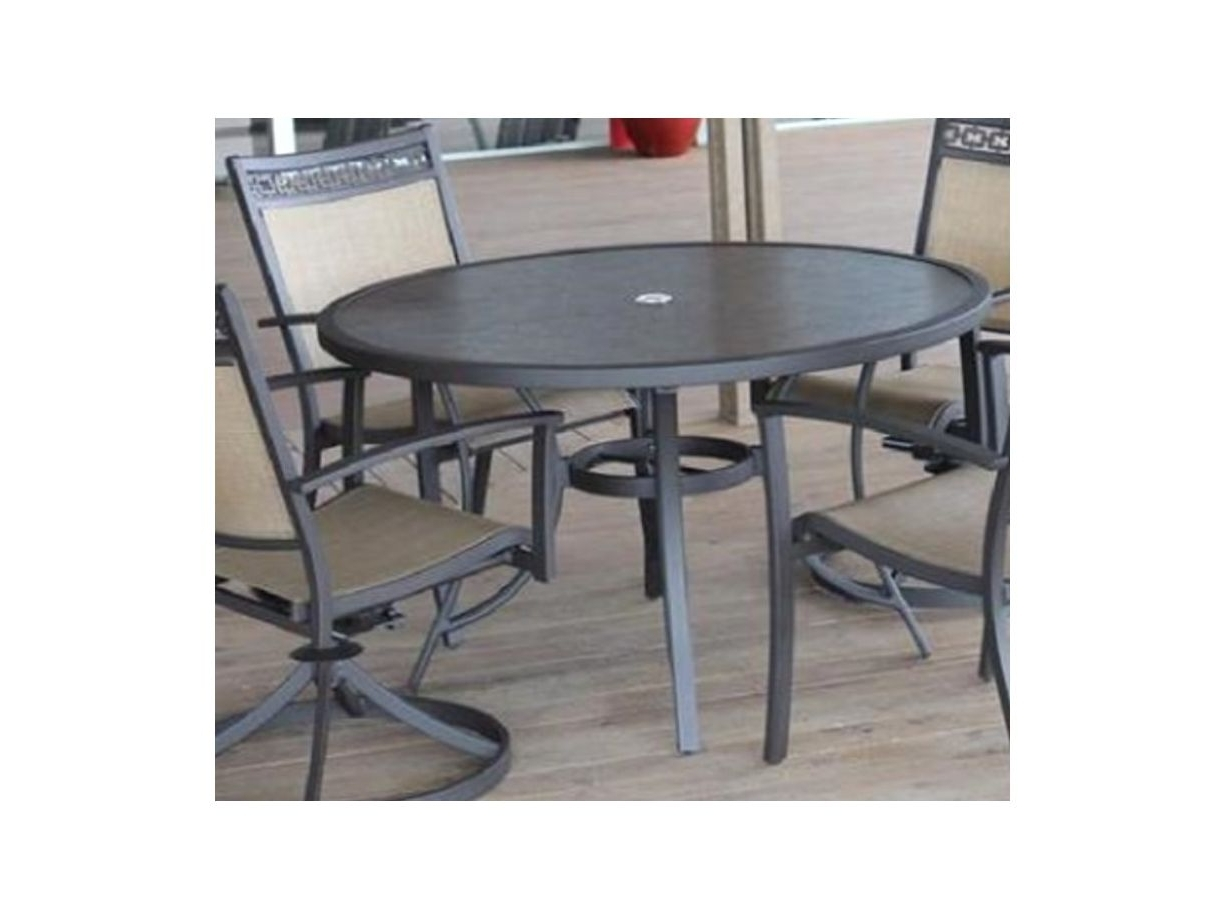 Well Known Carmadelia Outdoor 5 Piece Round Dining Set In Tan/brown Pertaining To Grady 5 Piece Round Dining Sets (View 20 of 25)