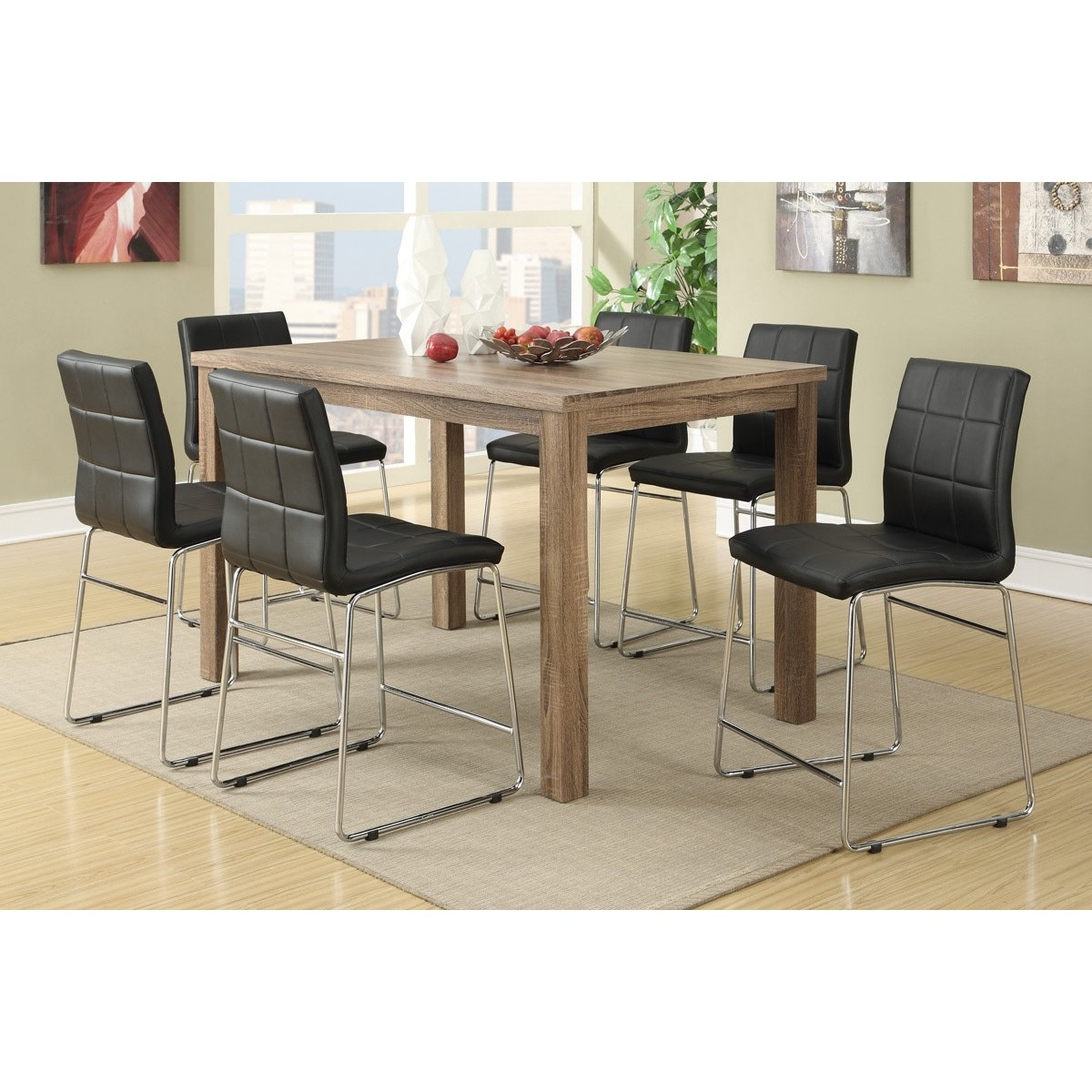 Well Known Chandler 7 Piece Extension Dining Sets With Fabric Side Chairs Pertaining To Shop Chandler 7 Piece Counter Height Dining Set – Free Shipping (View 3 of 25)