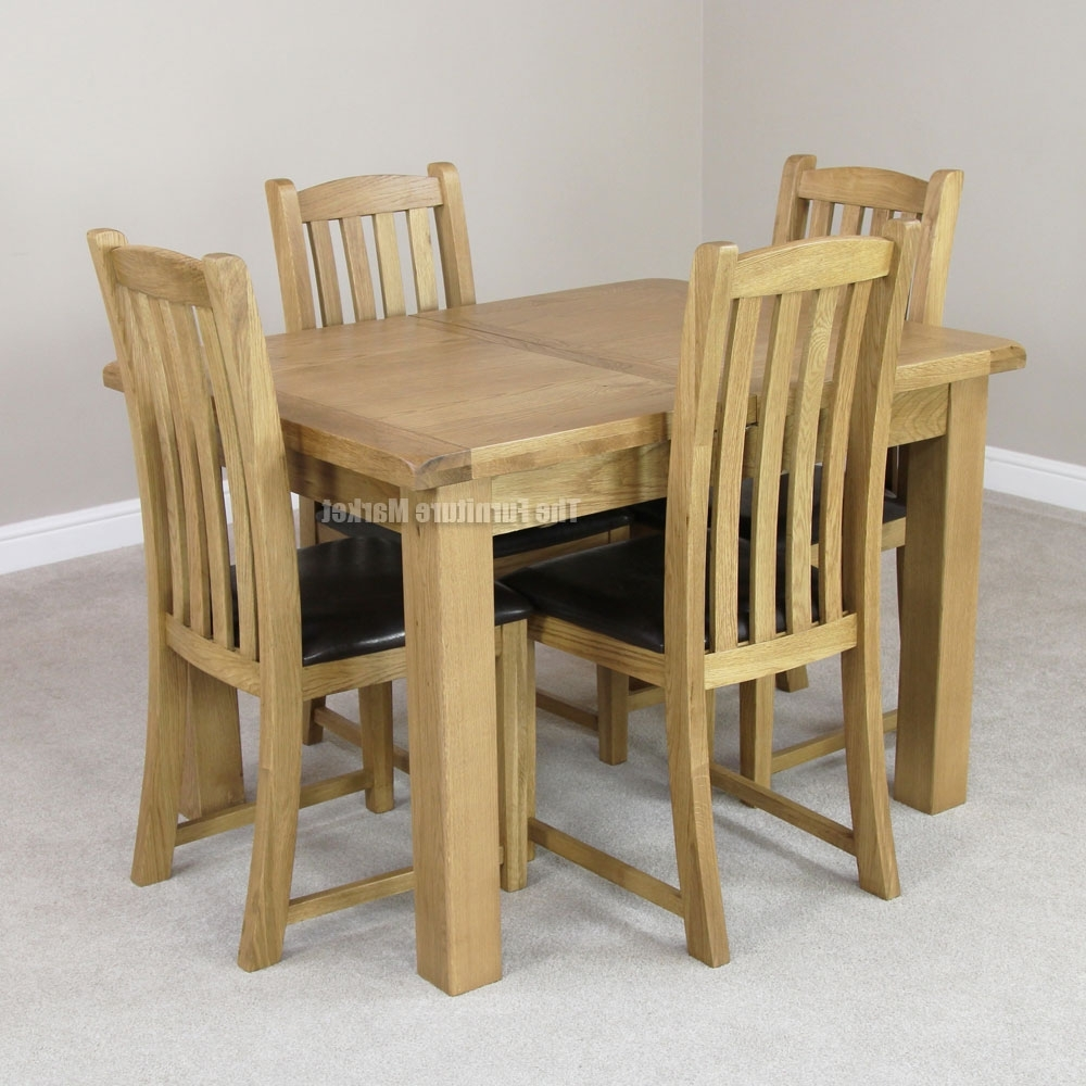 Well Known Cheshire Rustic Oak Small Extending Dining Table, Extended Dining Inside Oak Extending Dining Tables And 4 Chairs (View 16 of 25)