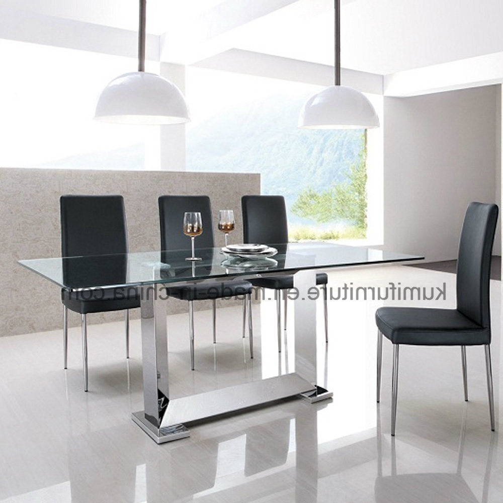 Well Known China Clear Glass Square Stainless Steel Dining Table – China Inside Glass And Stainless Steel Dining Tables (View 24 of 25)