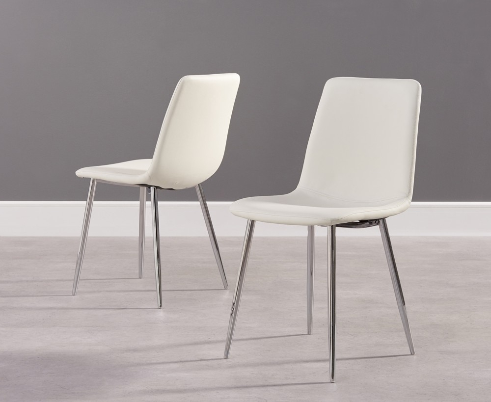 Well Known Chrome Dining Chairs Regarding Hatfield White Faux Leather And Chrome Dining Chairs (Pairs (View 24 of 25)