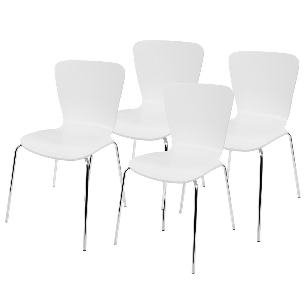 Well Known Chrome Dining Chairs Within Lumisource Woodstacker White And Chrome Contemporary Dining Chair (View 25 of 25)