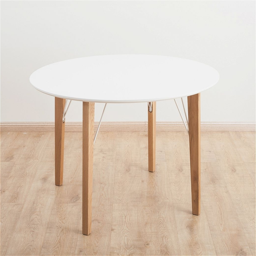 Well Known Circular Oak Dining Tables Intended For Mmilo Round Dining Table With Solid Oak Legs  1 Meter White Matt (View 15 of 25)