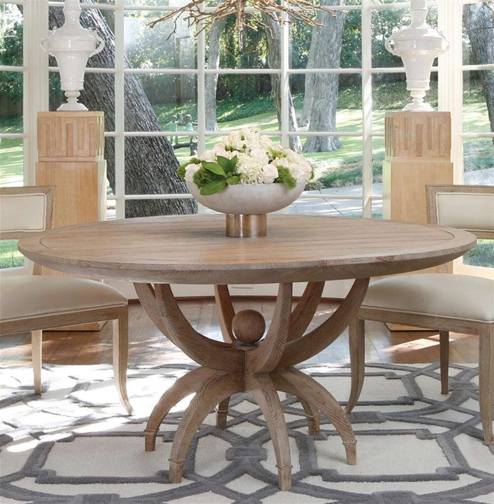 Well Known Coastal Dining Tables In Atticus Coastal Beach White Oak Contemporary Round Dining Table (View 24 of 25)