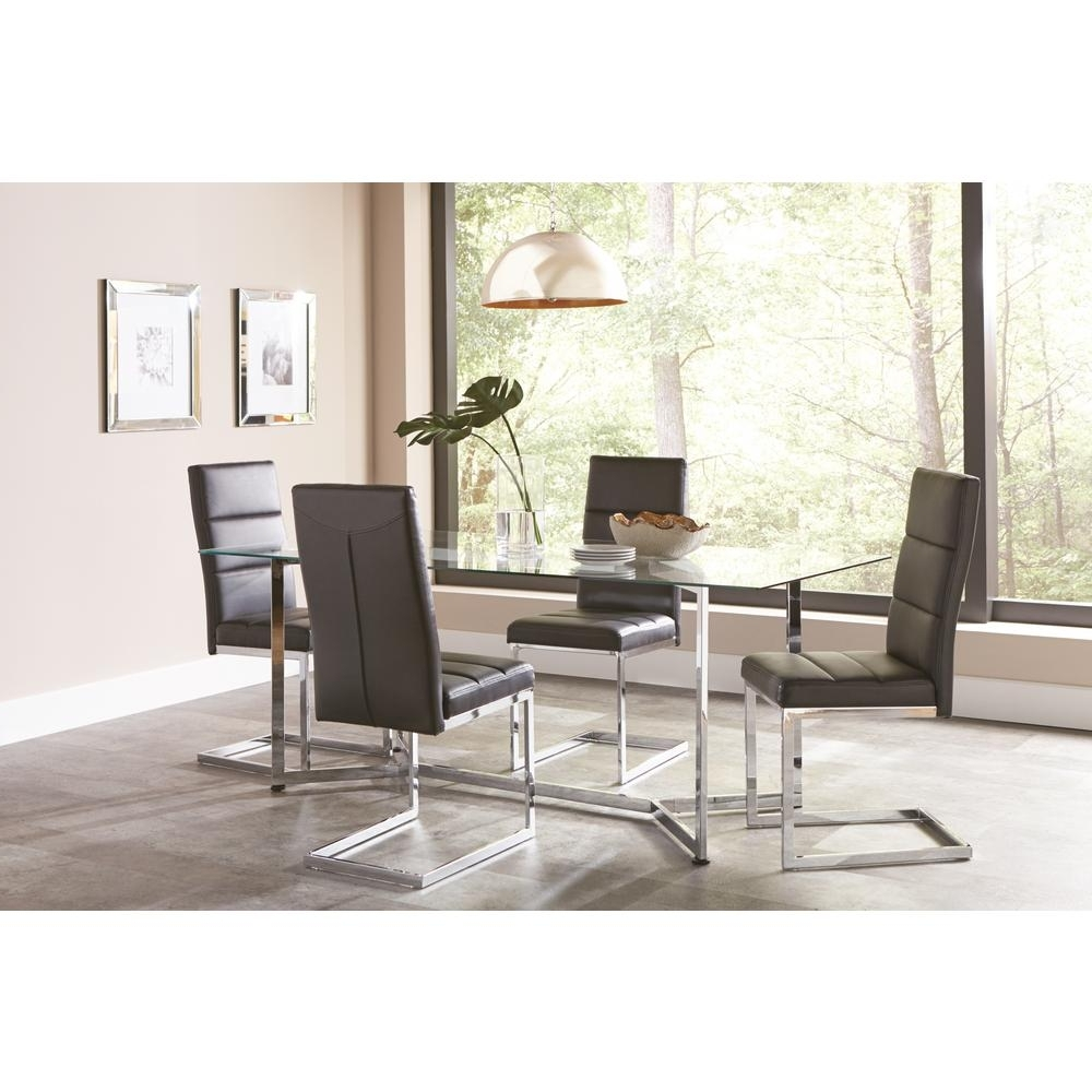 Well Known Coaster Augustin Collection Black/ Chrome Dining Chair (Set Of 2 For Chrome Dining Tables And Chairs (View 13 of 25)
