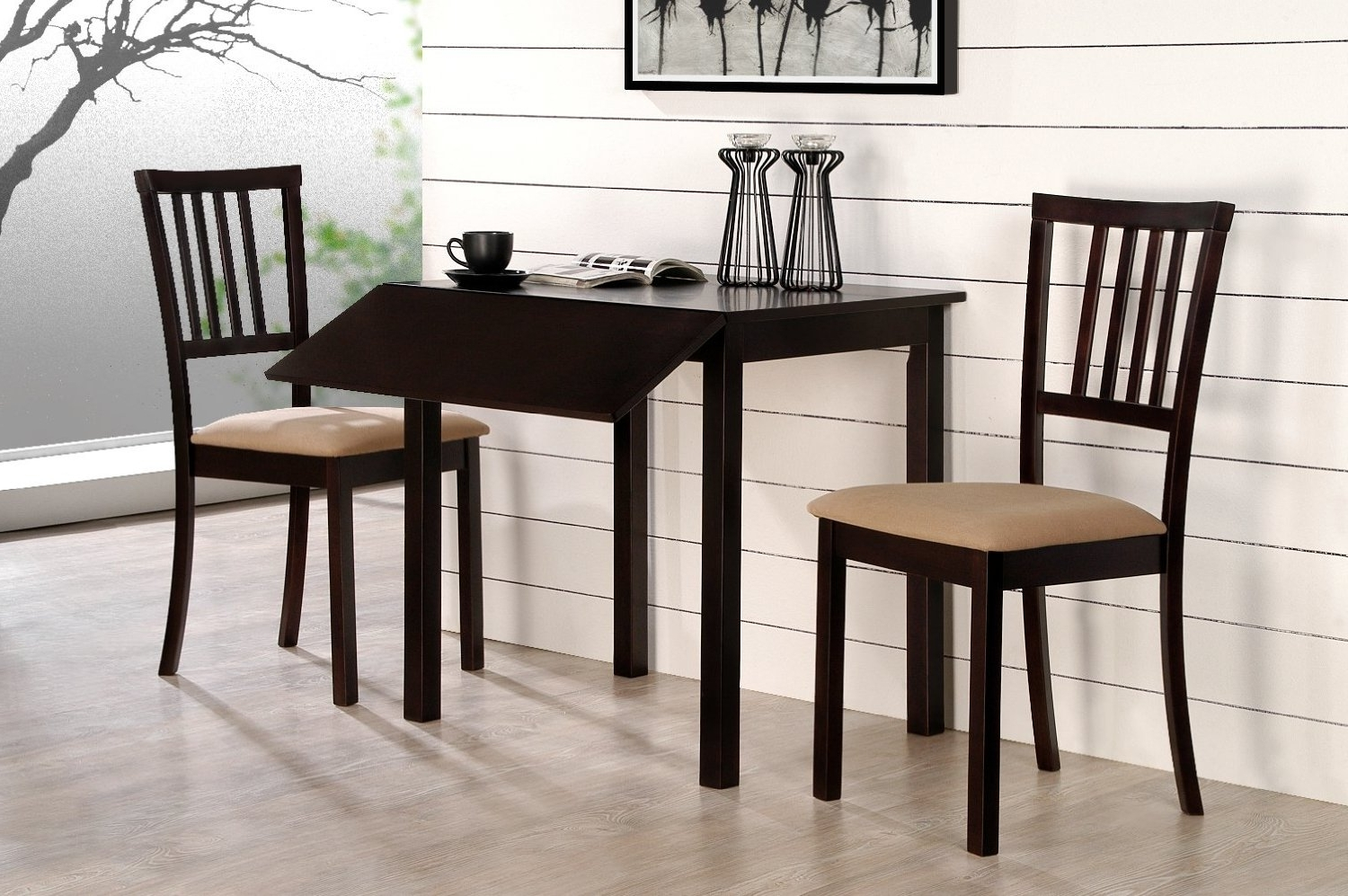 Well Known Compact Dining Space Arrangement With Drop Leaf Dining Table For For Compact Dining Room Sets (View 21 of 25)