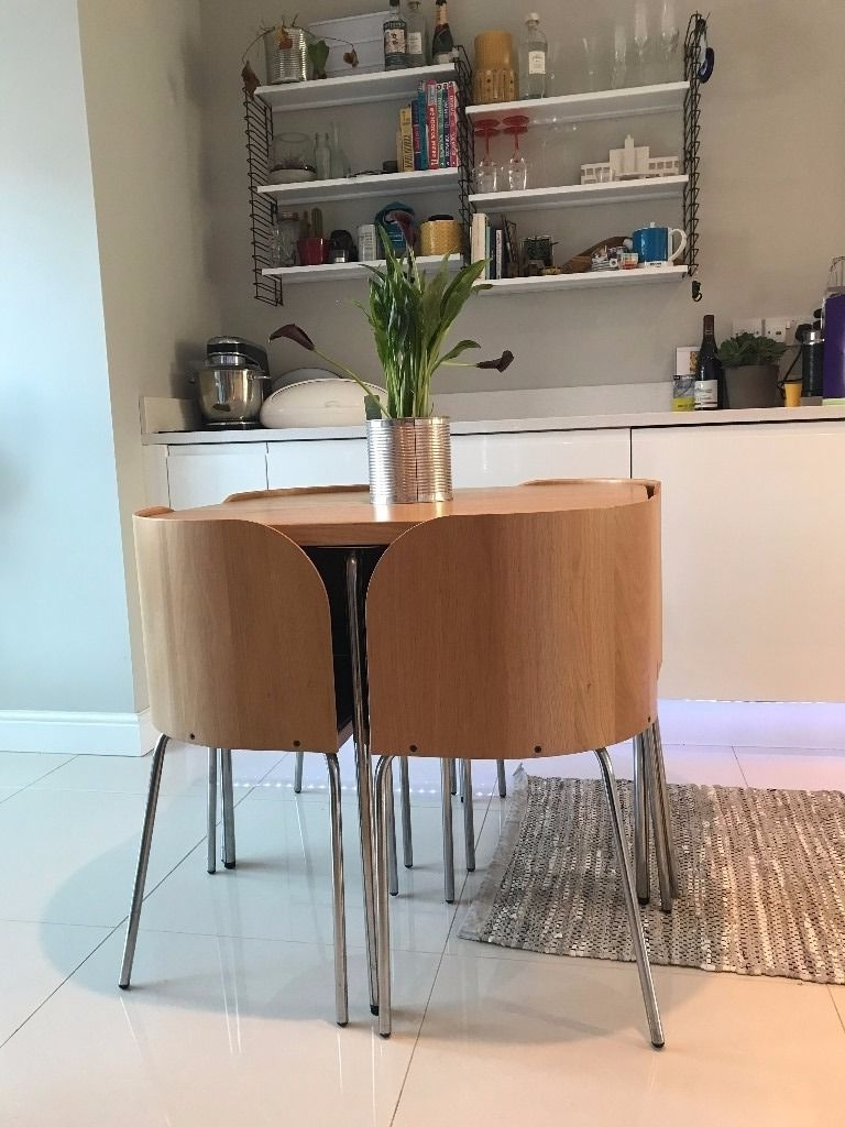 Well Known Compact Dining Tables Within Ikea Fusion Compact Dining Table & 4 Chairs Oak Effect With Black (View 24 of 25)
