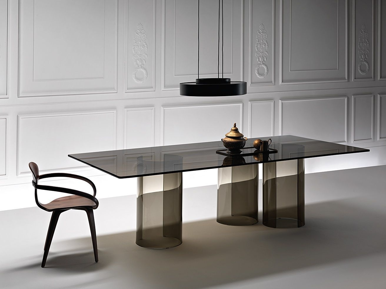 Well Known Contemporary Dining Table / Smoked Glass / Curved Glass For Curved Glass Dining Tables (View 4 of 25)