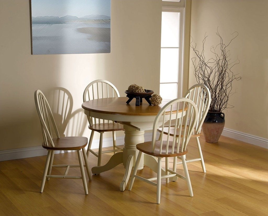 Well Known Cotswold Dining Tables Throughout Cotswold Buttermilk Round Extending 4 Seater Dining Set (View 20 of 25)