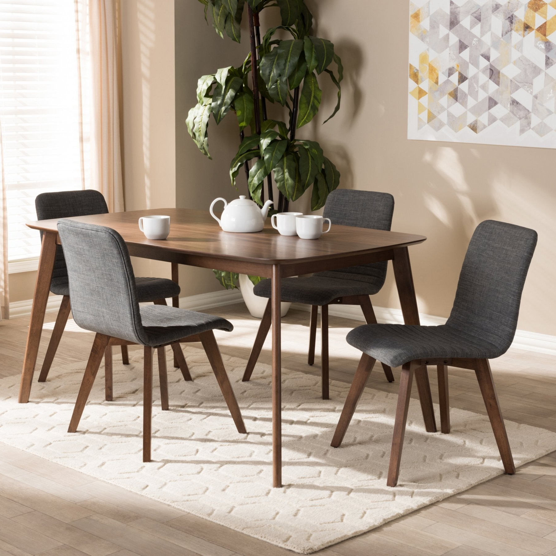 Well Known Craftsman 5 Piece Round Dining Sets With Uph Side Chairs Intended For Baxton Studio Sugar Mid Century Modern Fabric Upholstered 5 Piece (View 24 of 25)