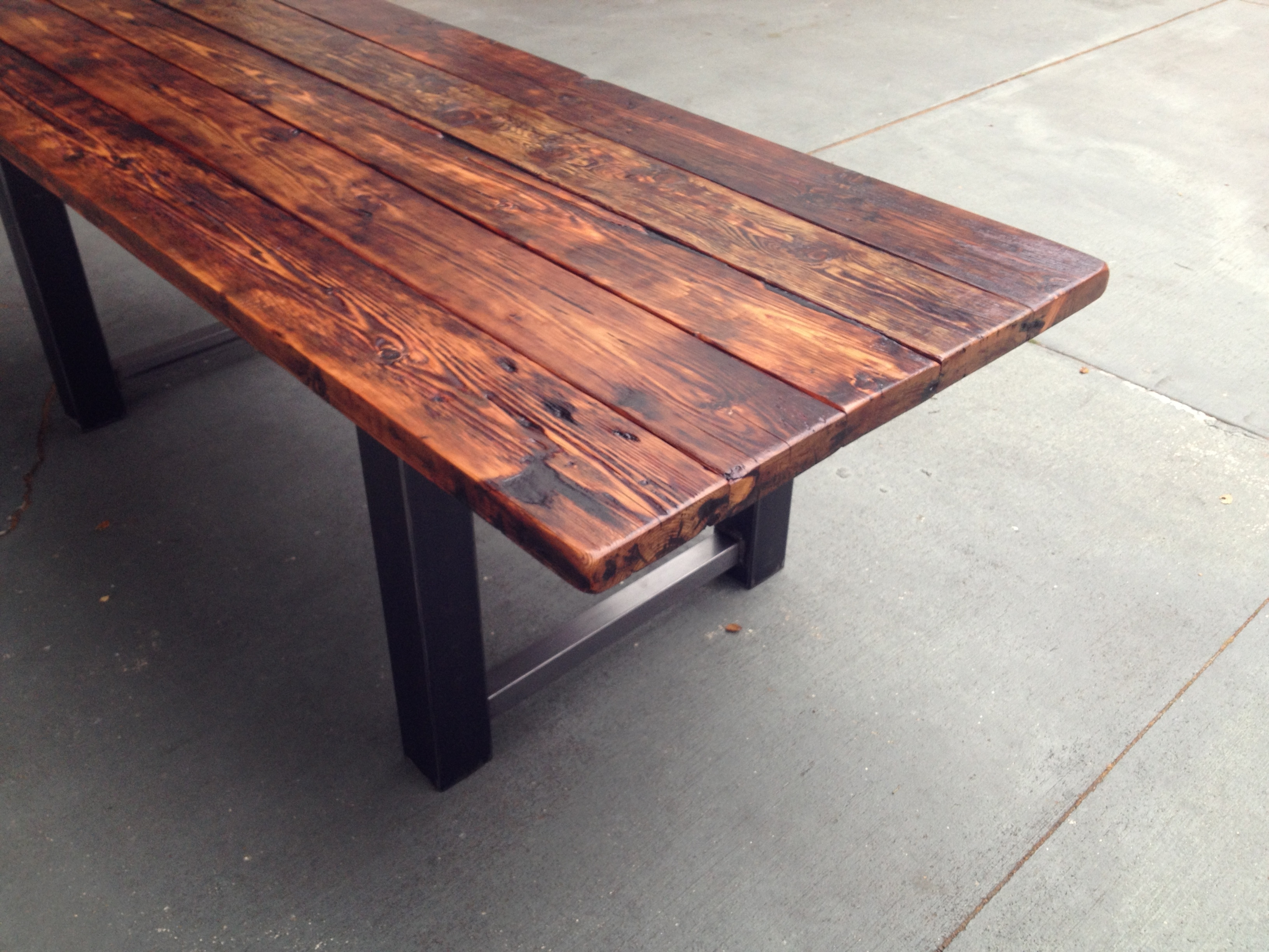 Well Known Craftsman Rectangle Extension Dining Tables With Regard To Reclaimed Wood And Steel Dining Table (View 8 of 25)