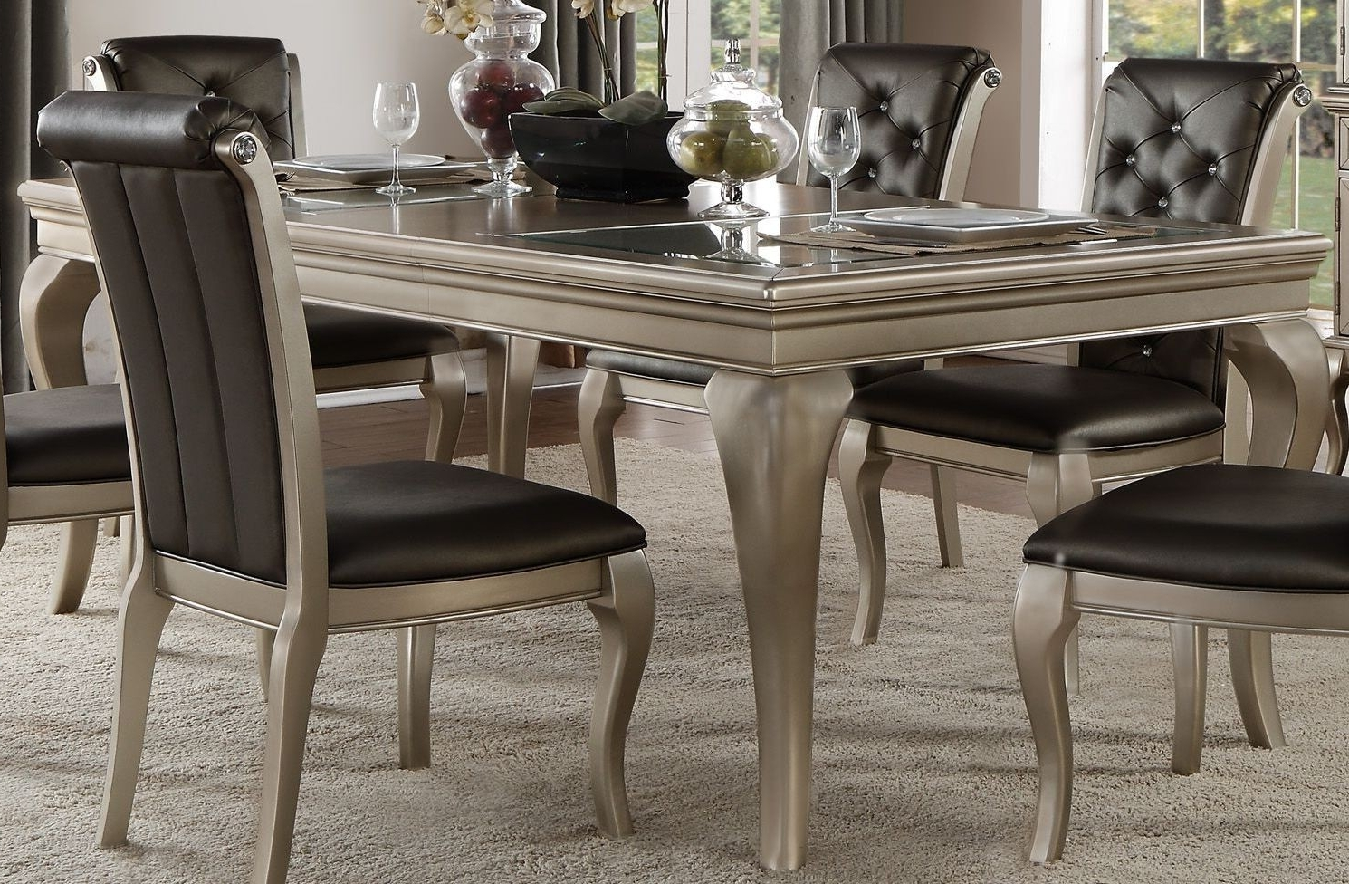 Well Known Crawford Silver Extendable Dining Table From Homelegance (View 4 of 25)
