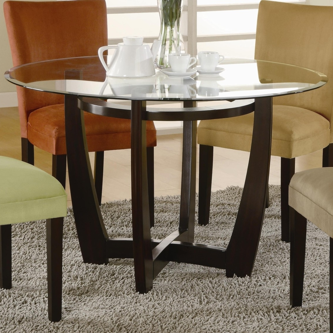 Well Known Curved Glass Dining Tables Intended For Curved Black Stained Oak Wood Legs Dining Table With Csrossed (View 24 of 25)