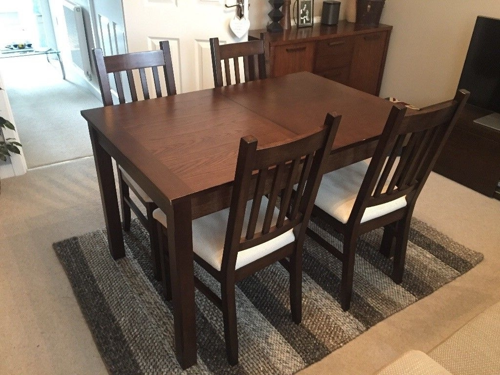 Well Known Dark Wood Extending Dining Table And Four Chairs (View 6 of 25)