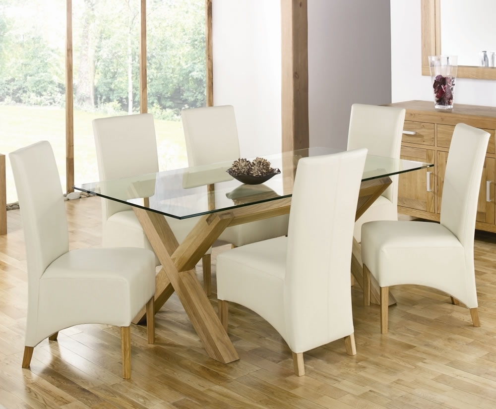 Well Known Dining Table: Killer Picture Of White Dining Room Decoration Using For Oak And Glass Dining Tables (View 18 of 25)