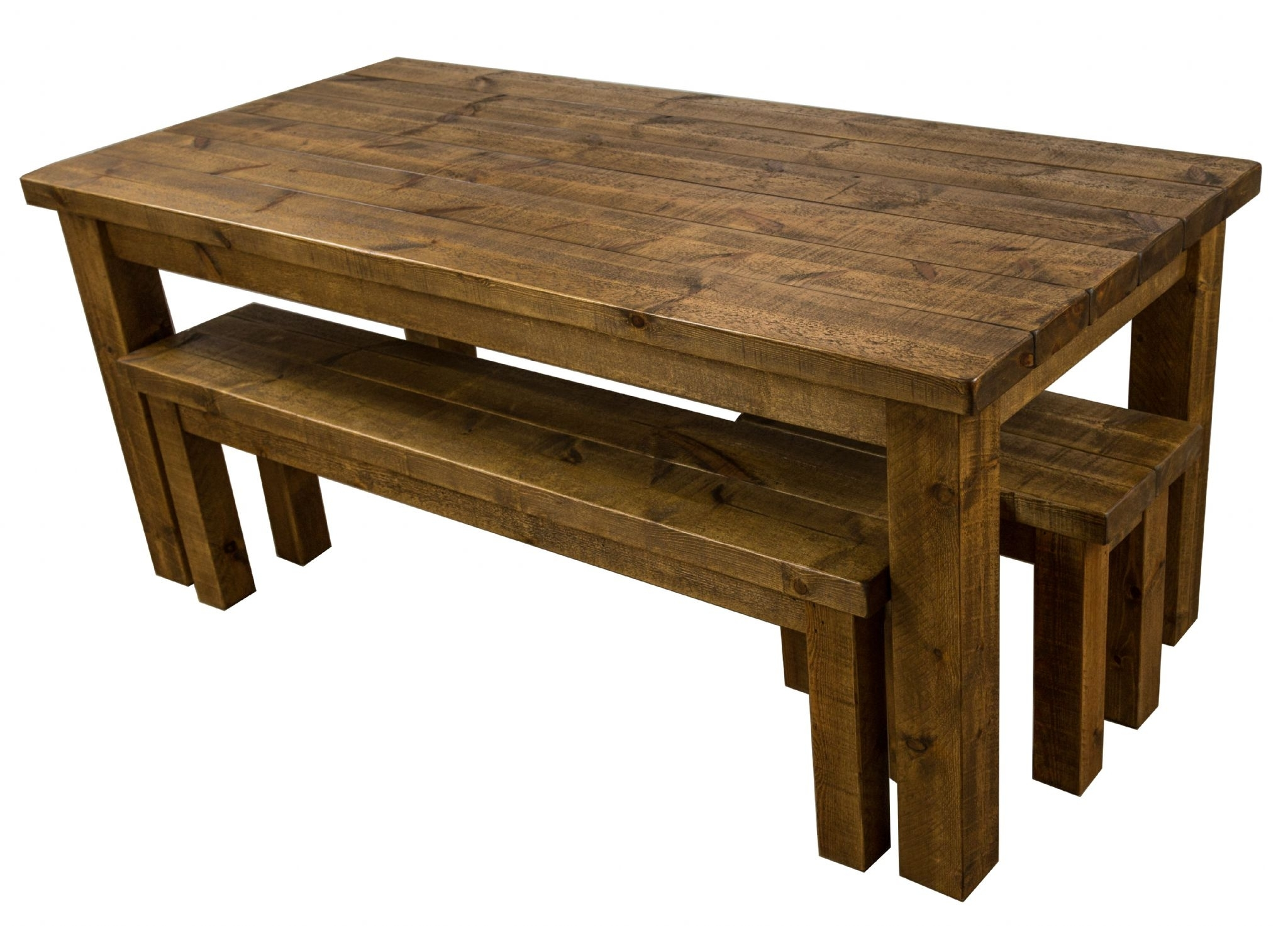 Well Known Dining Tables And 2 Benches Pertaining To Tortuga Rustic 7X3 Wooden Farmhouse Dining Table With 2 Benches (View 11 of 25)