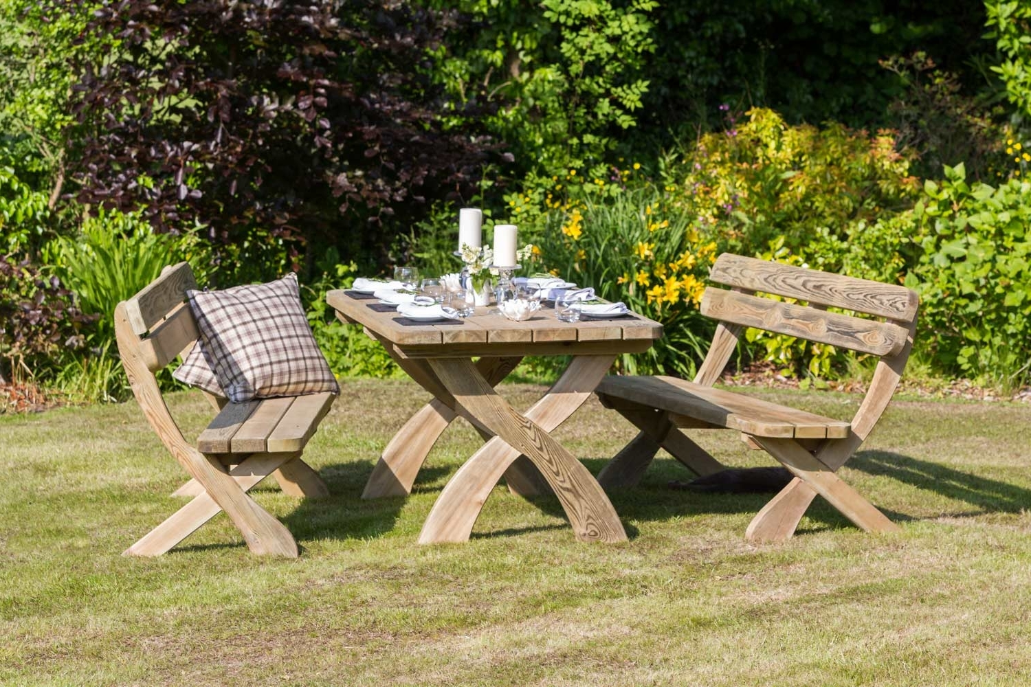Well Known Dining Tables And 2 Benches With Harriet' Table & 2 Bench Dining Set – Garden Furniture Land (View 22 of 25)