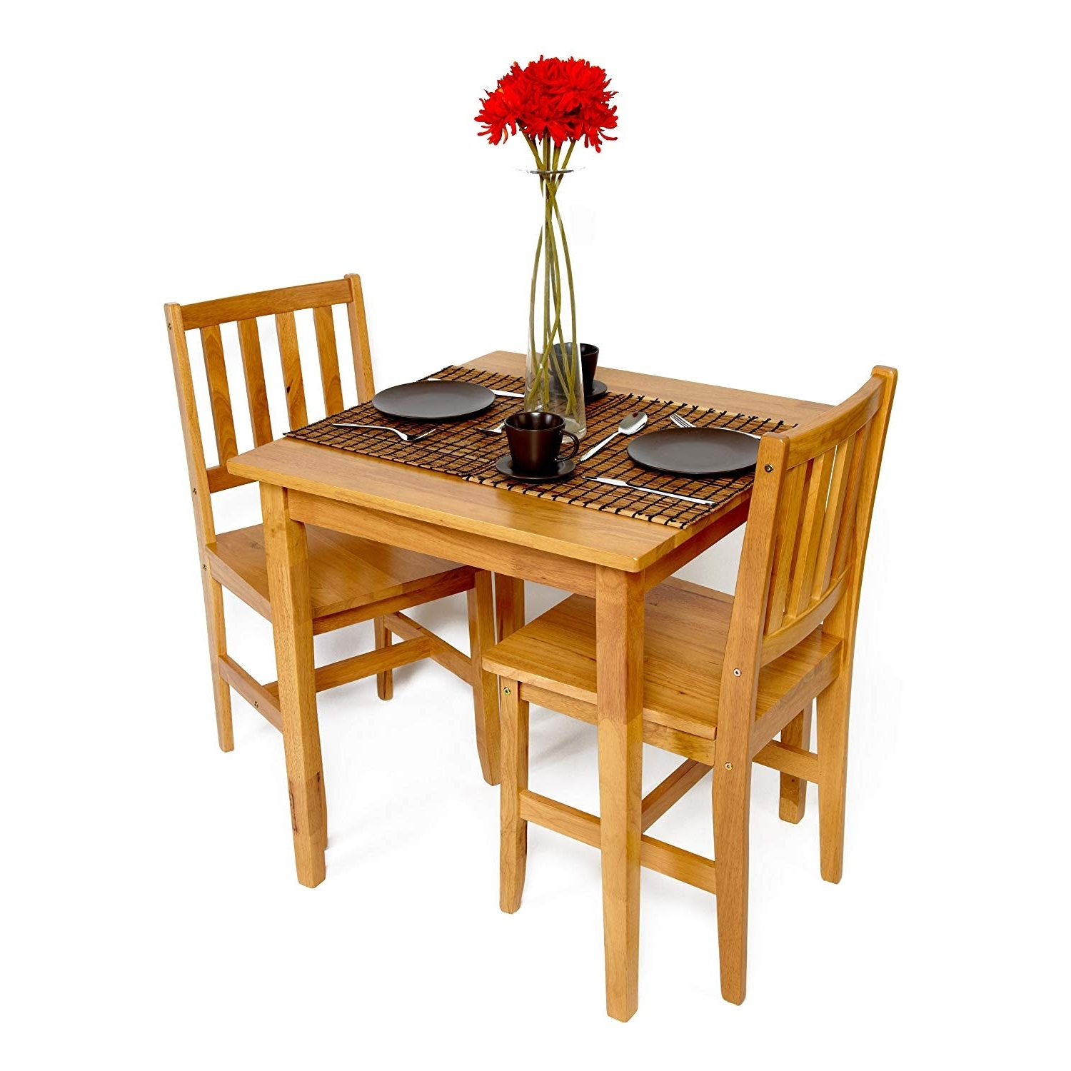 Well Known Dining Tables And 2 Chairs With Small Solid Rubberwood Extending Dining Set – 2 Chairs In Oak (View 24 of 25)