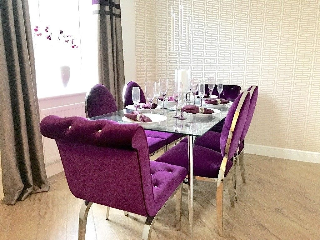 Well Known Dining Tables And Purple Chairs With Glass Dining Table And 6 Purple Velvet Chairs Shoshone Immaculate (View 2 of 25)
