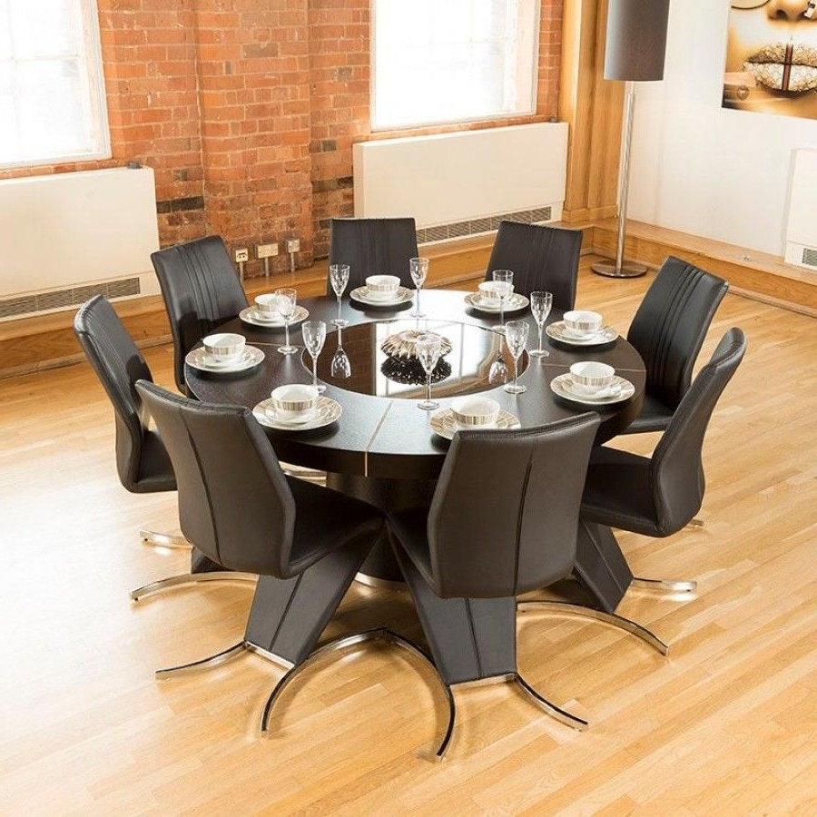 Well Known Dining Tables For Eight In Modern Large Round Black Oak Dining Table Plus Eight High Back Z (View 16 of 25)