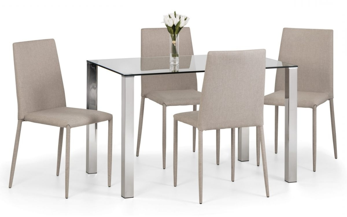 Well Known Enzo Chrome & Glass Compact Dining Table Regarding Compact Dining Room Sets (View 23 of 25)