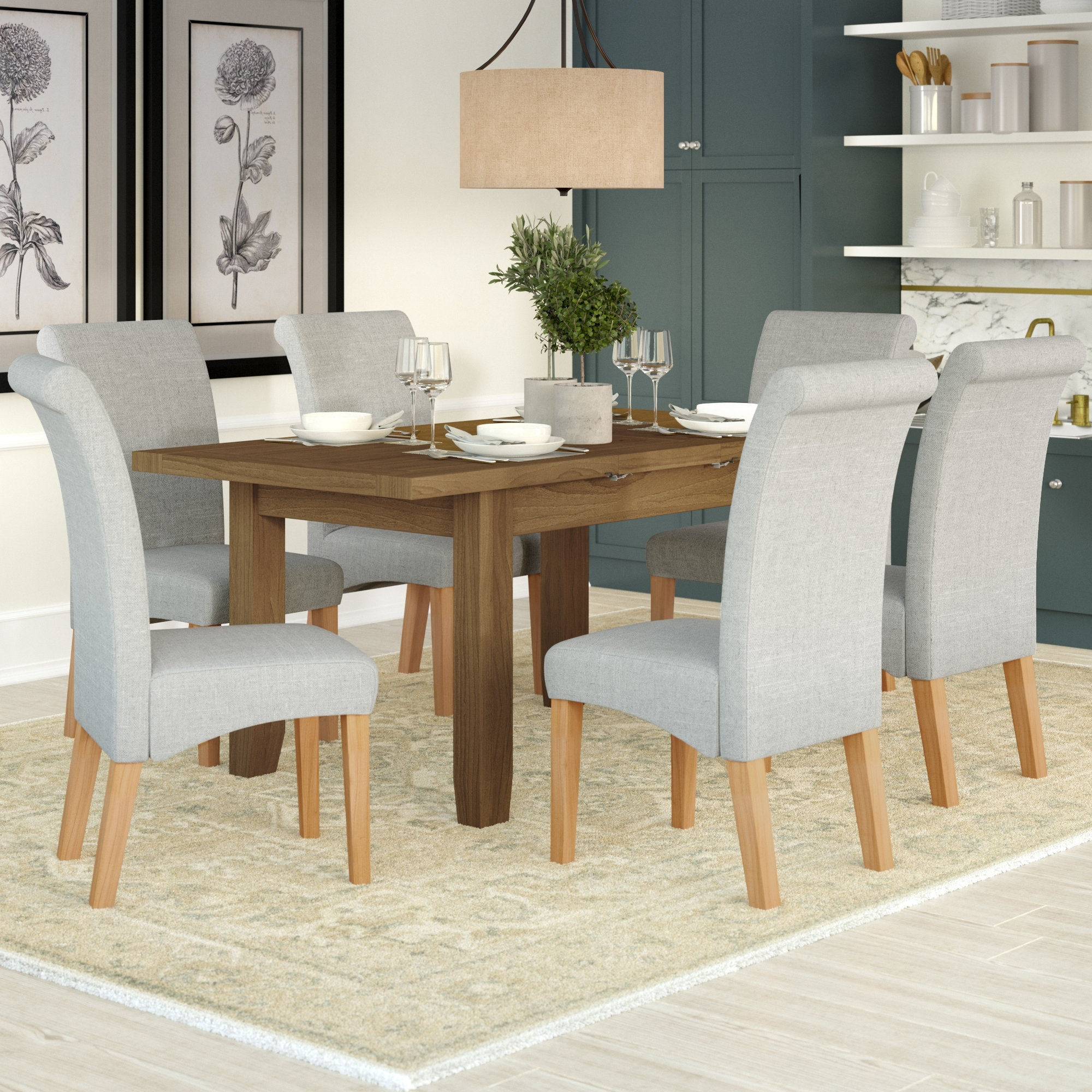 Well Known Extendable Dining Tables With 6 Chairs Pertaining To Three Posts Berwick Extendable Dining Table And 6 Chairs & Reviews (View 24 of 25)