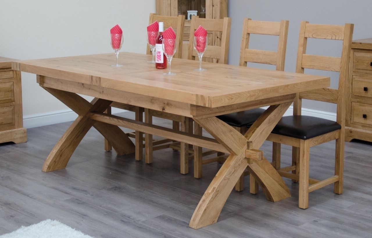 Well Known Extending Dining Tables Within Homestyle Deluxe Solid Oak X Leg Extending Dining Table From The Bed (View 24 of 25)