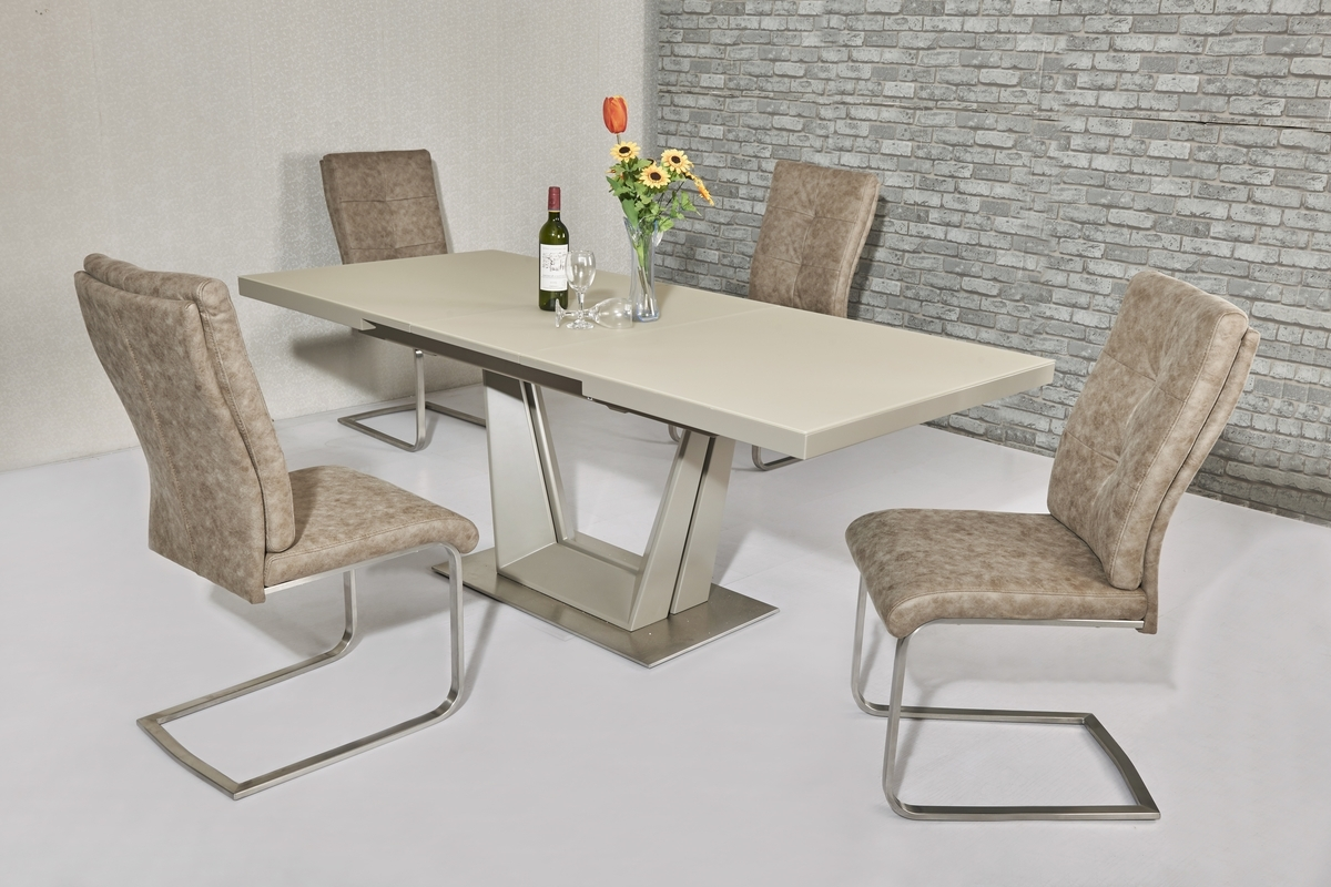 Well Known Extending Glass Dining Tables And 8 Chairs Intended For Matt Cream Glass Dining Table & 8 Cream Chairs – Homegenies (View 13 of 25)