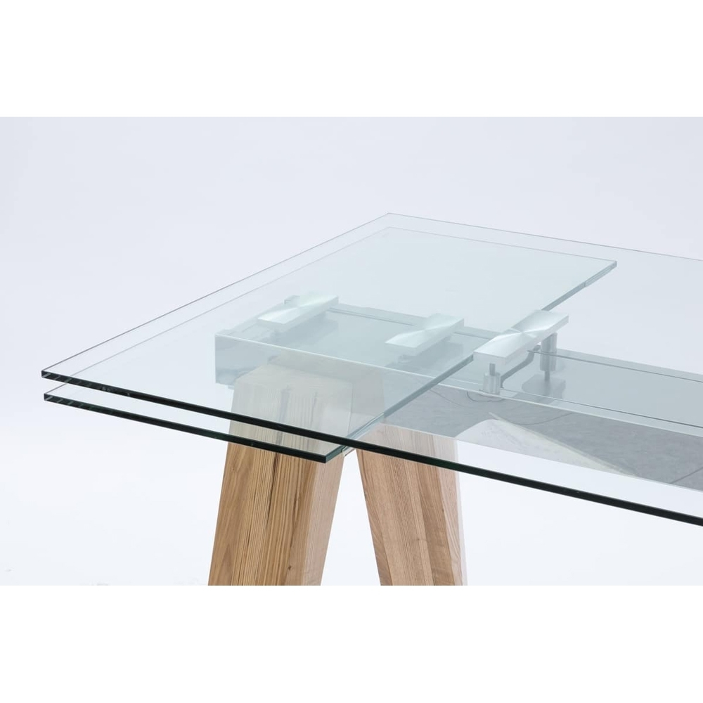 Well Known Extending Glass Dining Tables Pertaining To Extendable Dining Table Florida, Made Of Glass And Solid Wood (View 19 of 25)