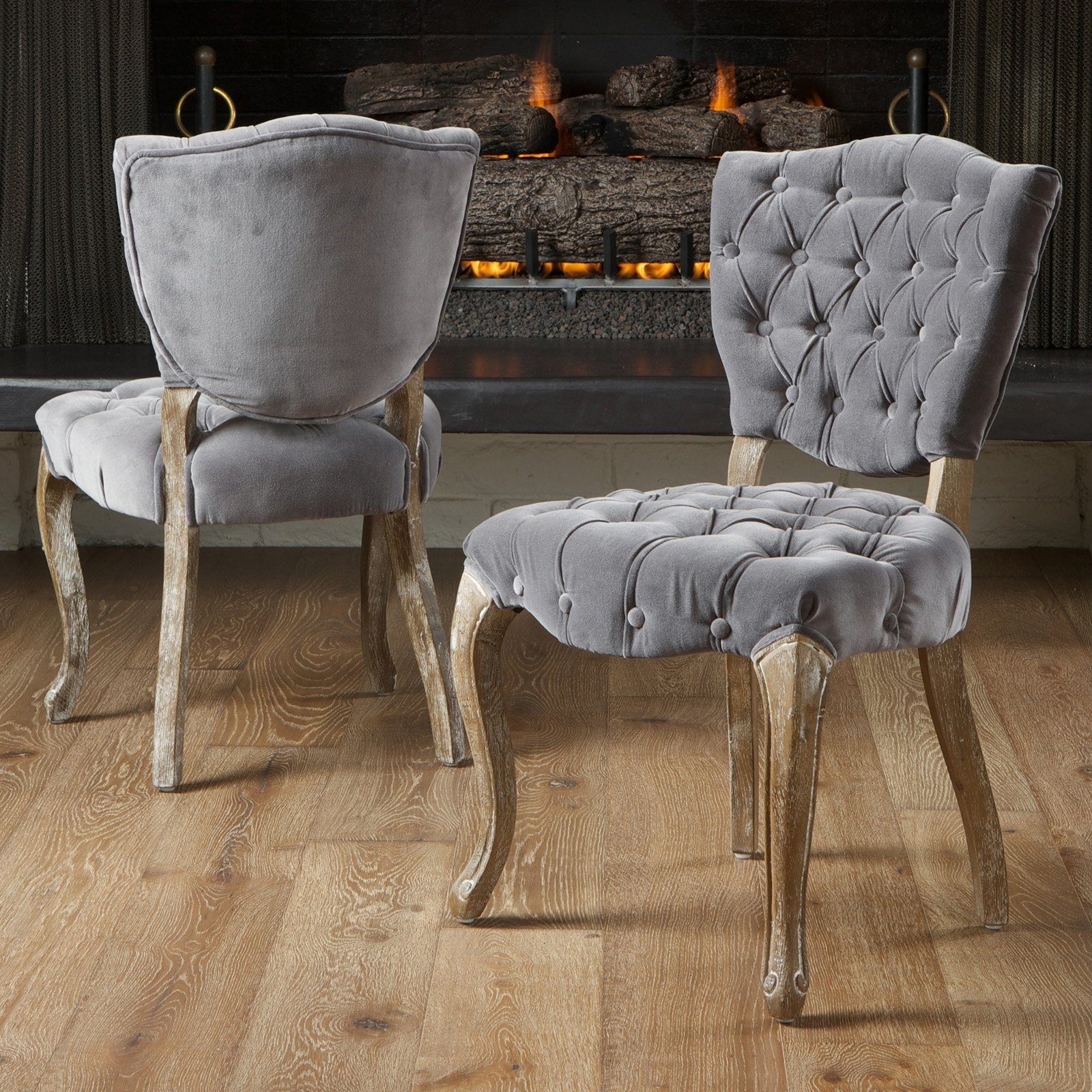 Well Known Fabric Dining Chairs With Middleton Tufted Grey Fabric Dining Chairs – 2 Pack (View 10 of 25)