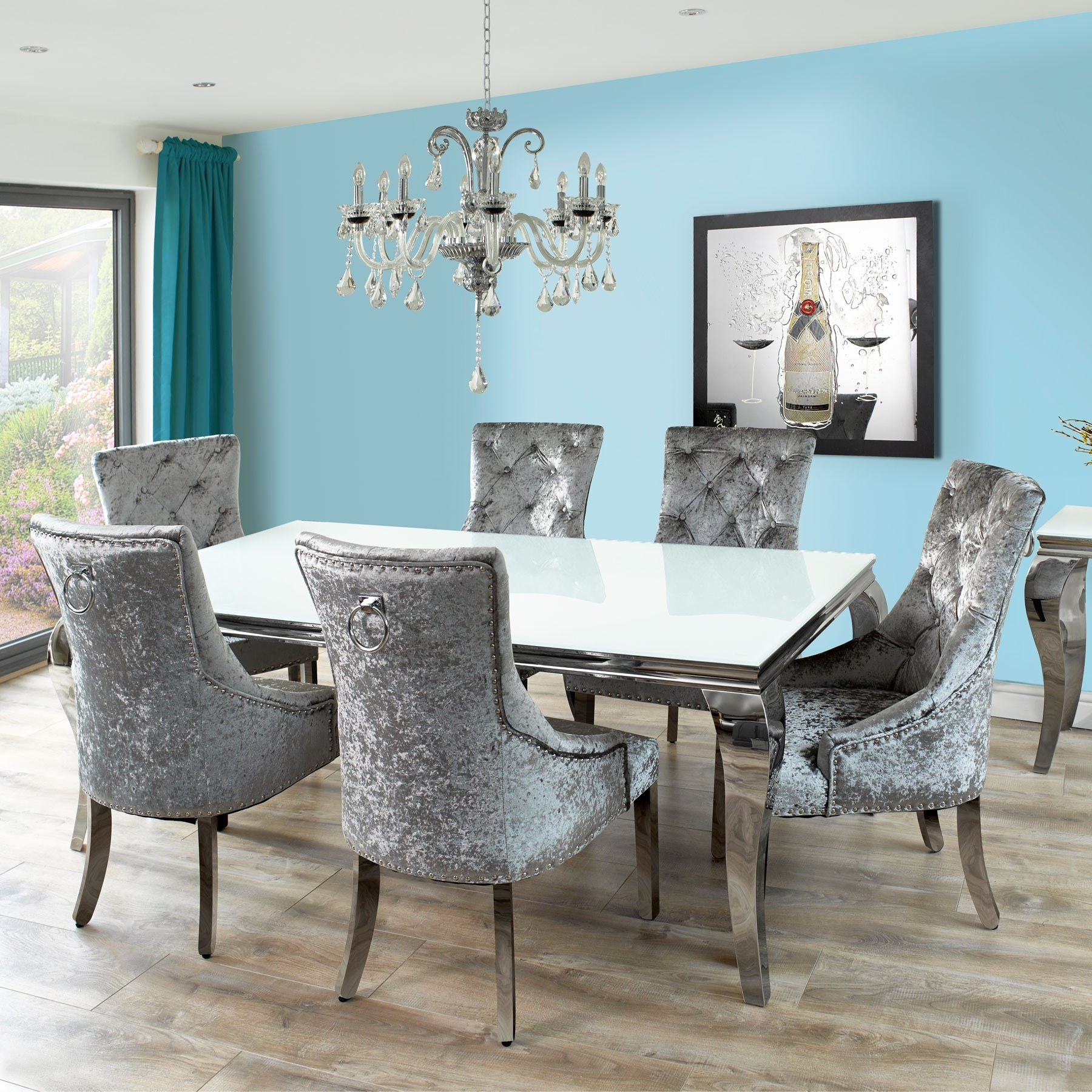 Well Known Fadenza White Glass Dining Table & 6 Silver Chairs With Knocker And Throughout Glass Dining Tables (View 24 of 25)