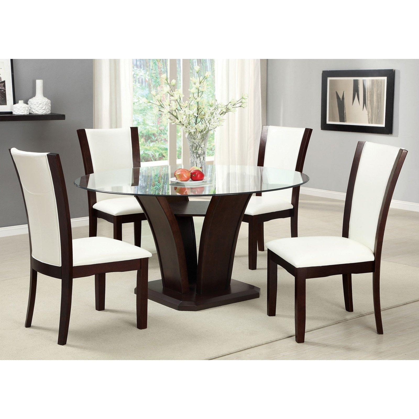 Well Known Furniture Of America Lavelle 5 Piece Glass Top Dining Set – Dark With Regard To Jensen 5 Piece Counter Sets (View 22 of 25)