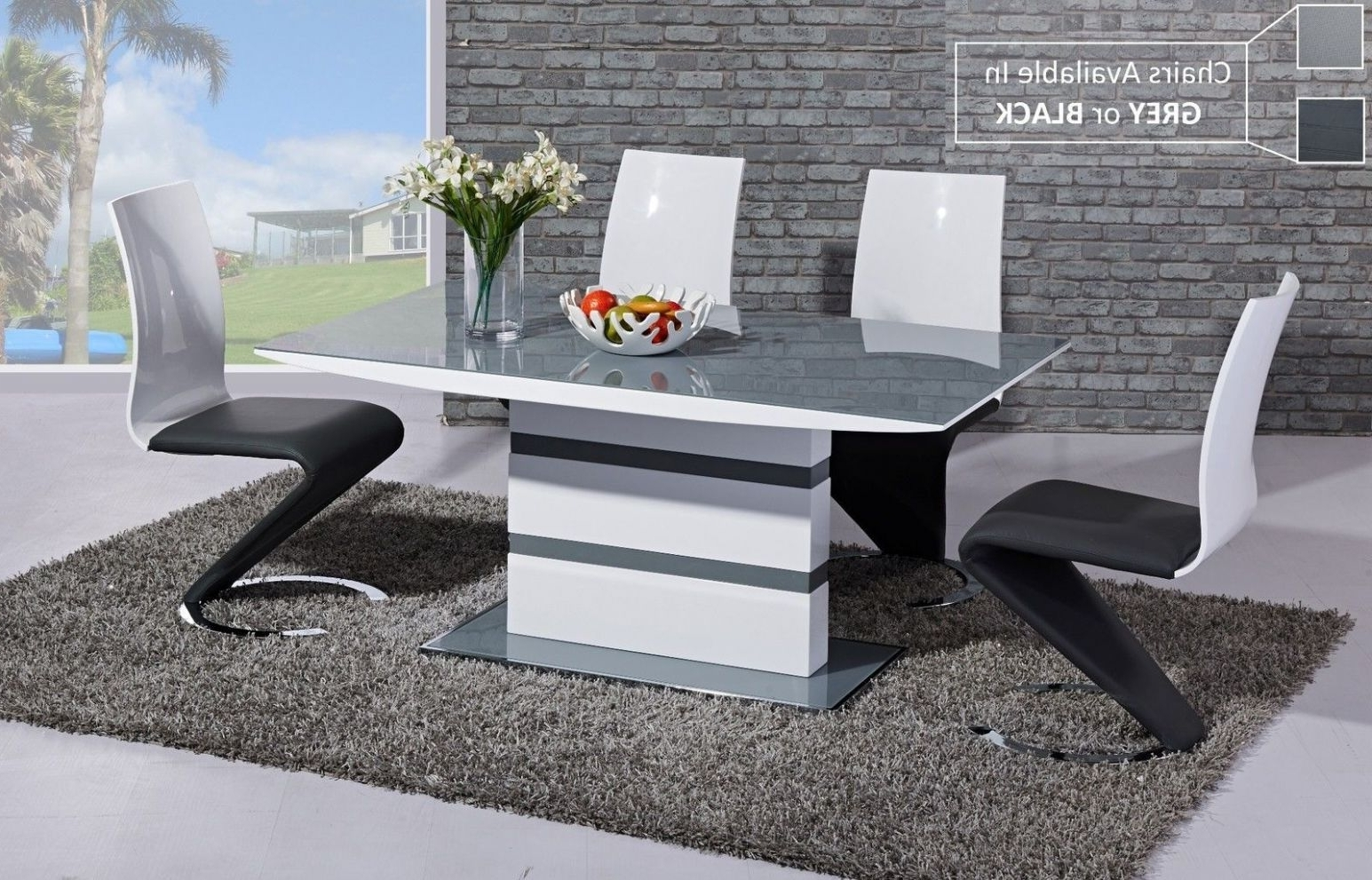 Well Known Ga K2 Designer White Gloss Grey Glass 160 Cm Dining Set 4 6 Swish Chairs Intended For Black Gloss Dining Tables And 6 Chairs (View 4 of 25)