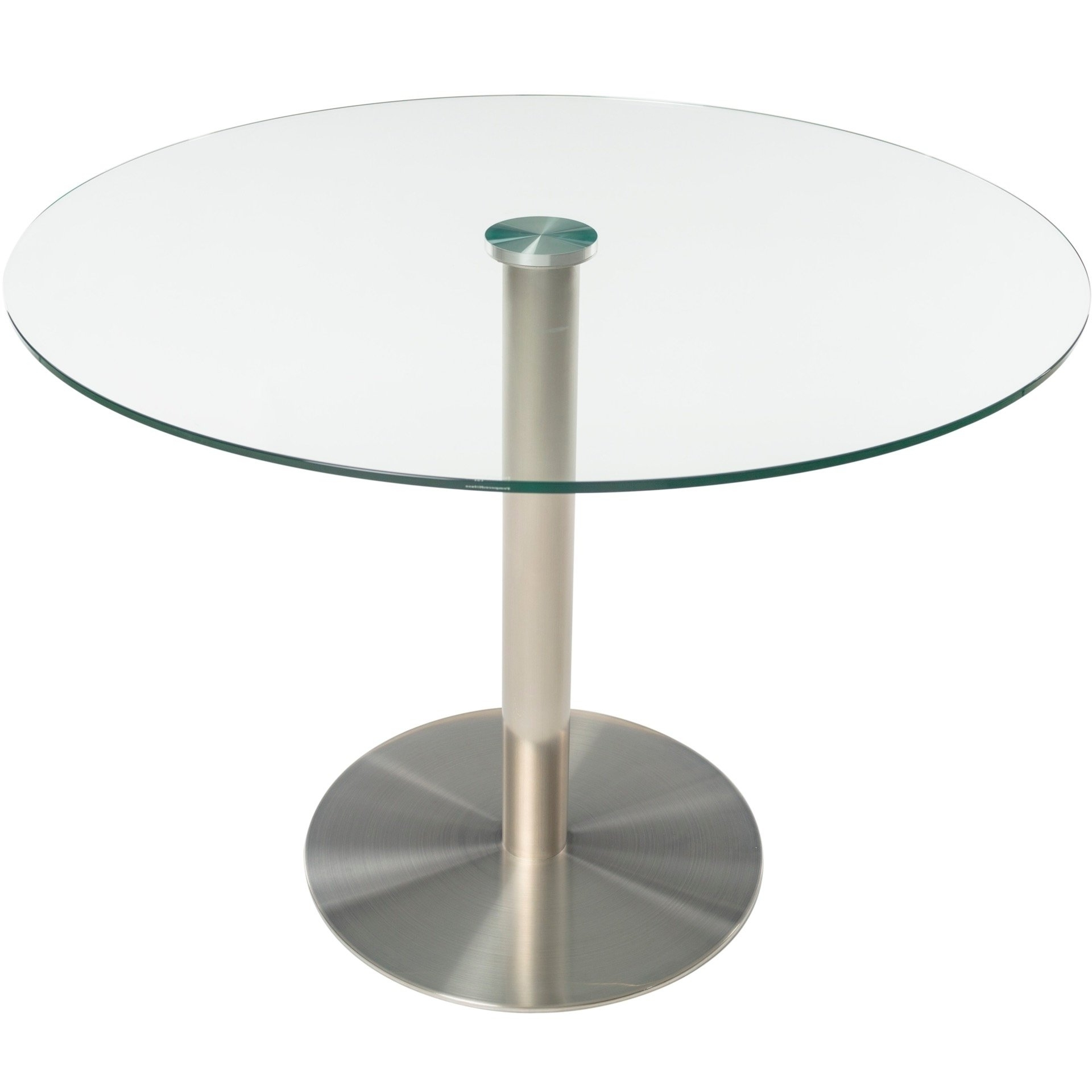 Well Known Glass And Stainless Steel Dining Tables Pertaining To Shop Mix Tempered Glass 40 Inch Diameter Dining Table With Brushed (View 25 of 25)