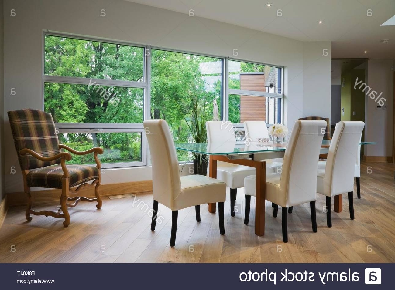 Well Known Glass Dining Table Leather Chairs Stock Photos & Glass Dining Table Inside Glass Dining Tables And Leather Chairs (View 11 of 25)