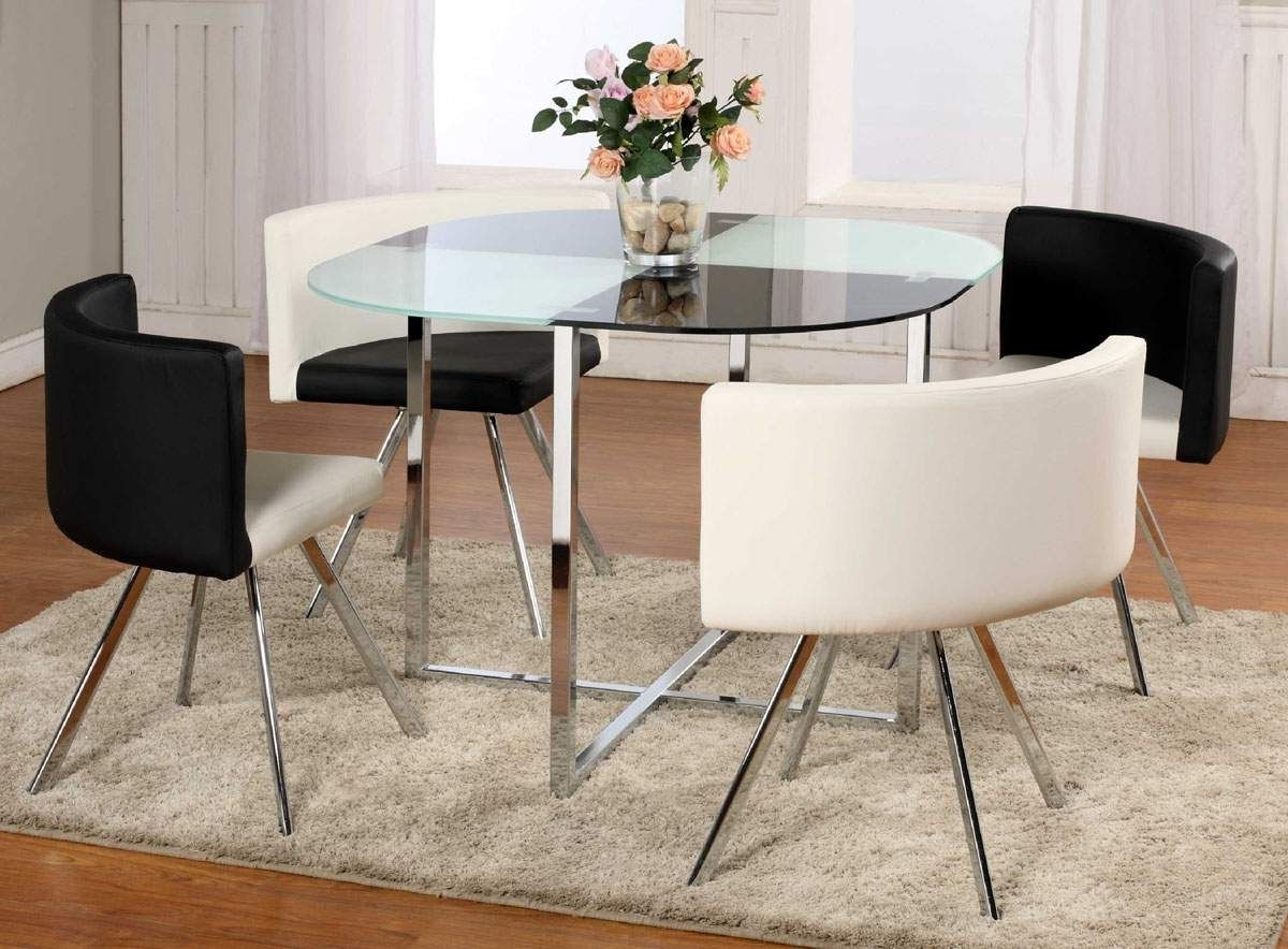 Well Known Glass Dining Tables And Chairs Intended For Enchanting Contemporary Black Round Dining Table Glass Pedestal (View 24 of 25)
