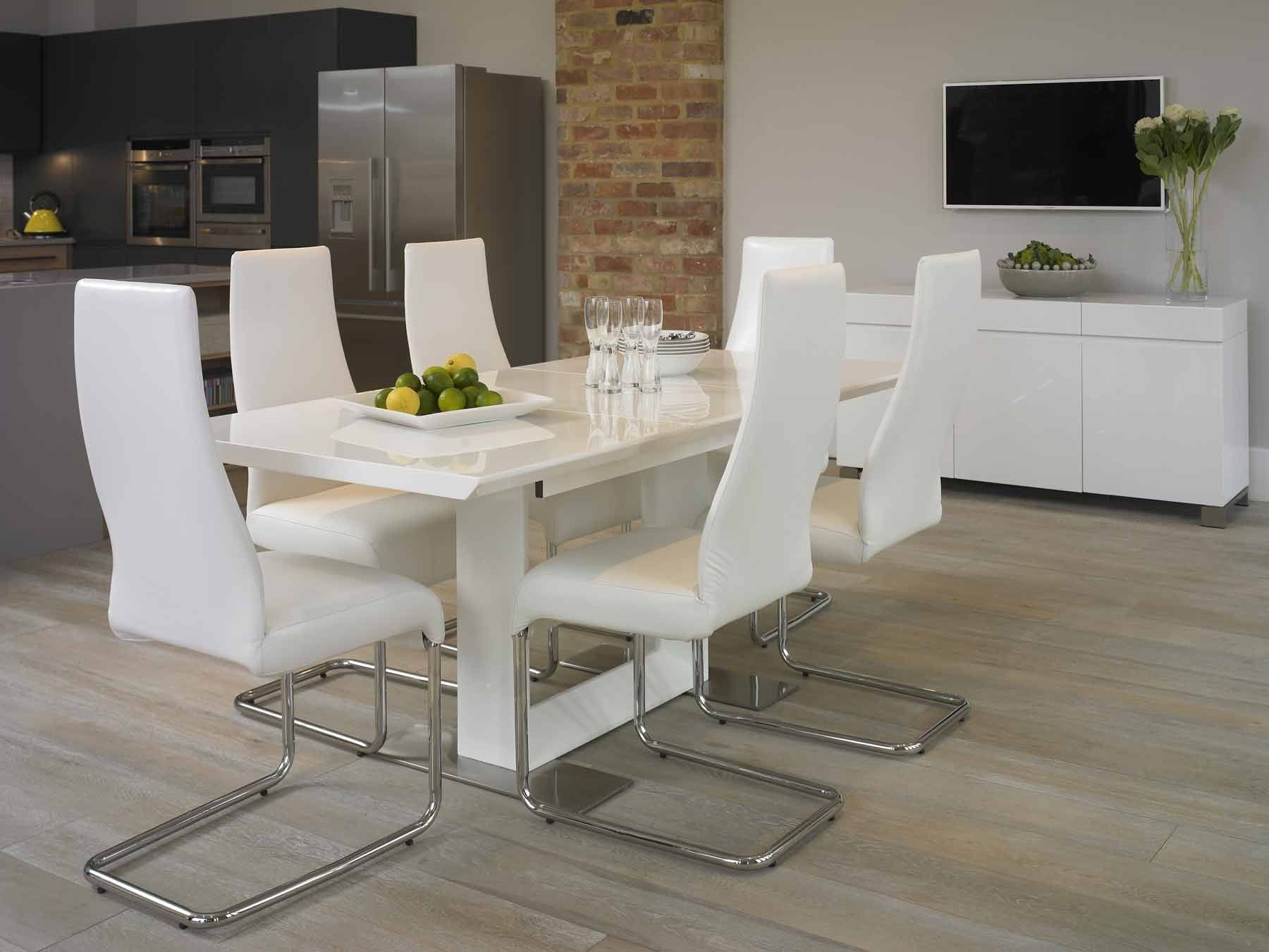 Well Known Gloss White Dining Tables And Chairs Inside Awesome White Dining Room Furniture Including Marble Table And (View 23 of 25)