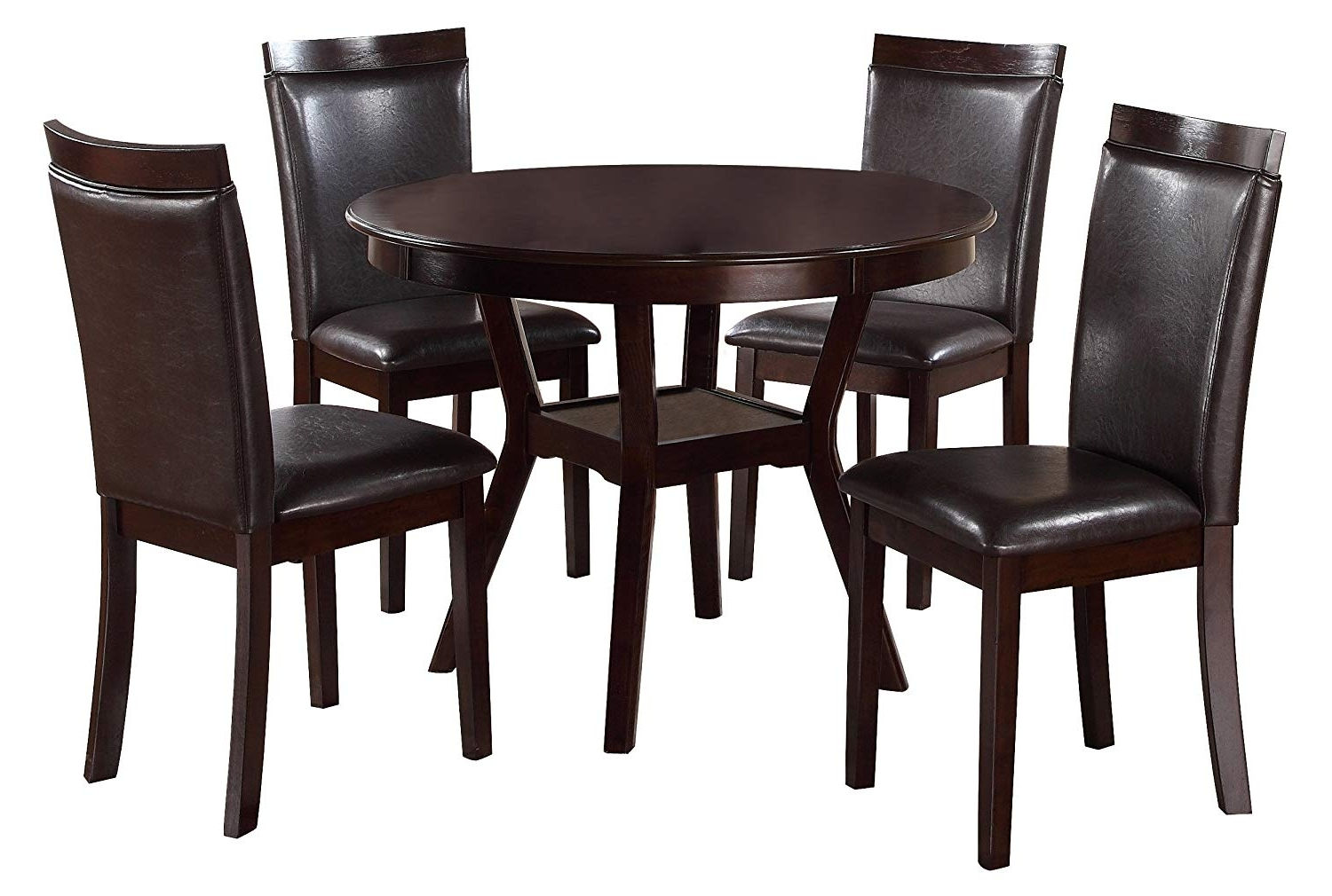 Well Known Grady Round Dining Tables Within Amazon – Homelegance Shankmen Round 5 Piece Dining Set, Espresso (View 25 of 25)
