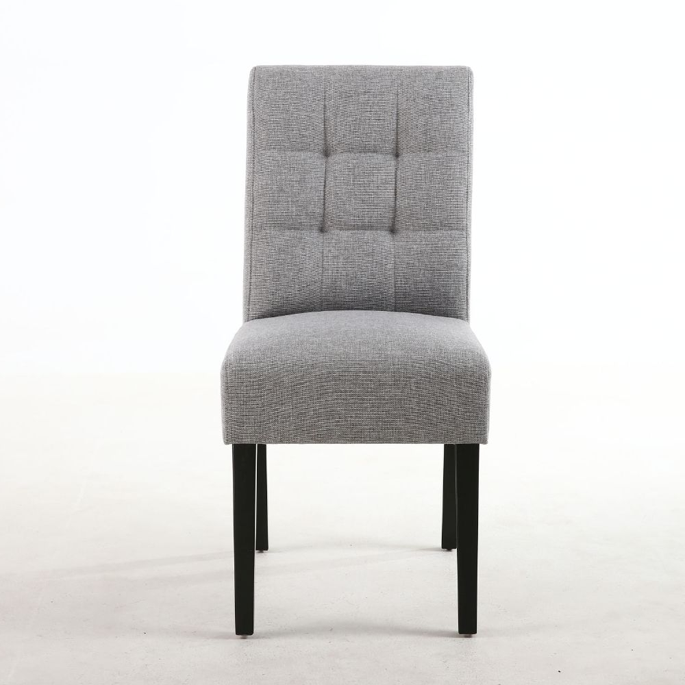 Well Known Grey Dining Chairs For Pair Of Waffle Linen Effect Silver Grey Dining Chairs – Black Legs (View 18 of 25)