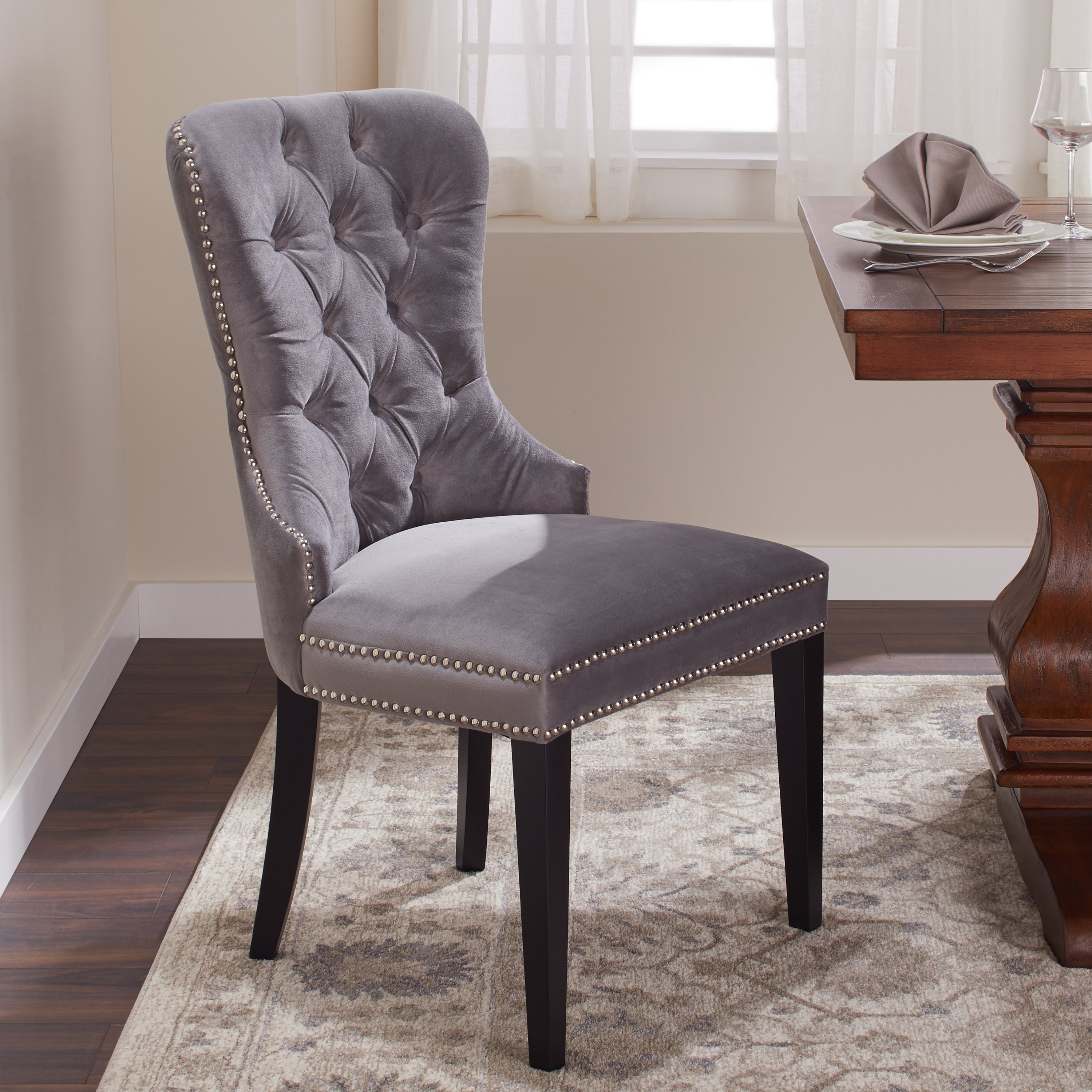Well Known Grey Dining Chairs With Shop Abbyson Versailles Grey Tufted Dining Chair – On Sale – Free (View 7 of 25)