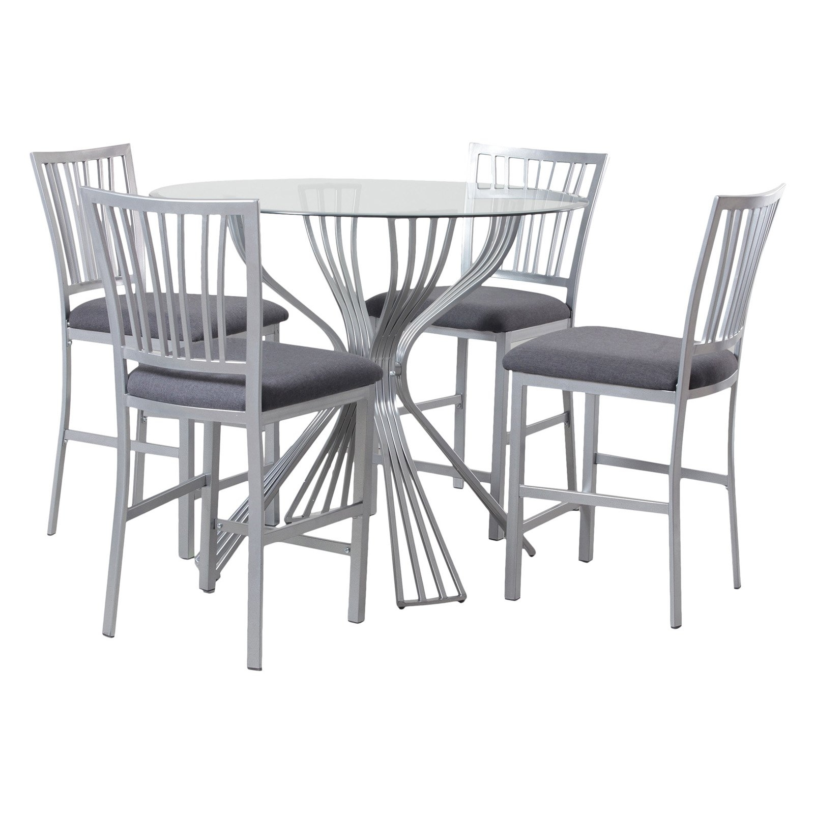 Well Known Hyland 5 Piece Counter Sets With Stools With Powell Delgado Counter Height 5 Piece Dining Table Set – Walmart (View 24 of 25)