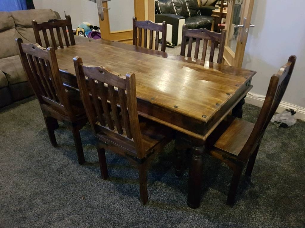 Well Known Indian Dining Tables And Chairs With Regard To Beautiful Indian Sheesham Solid Oak Dining Table And 6 Chairs (View 23 of 25)