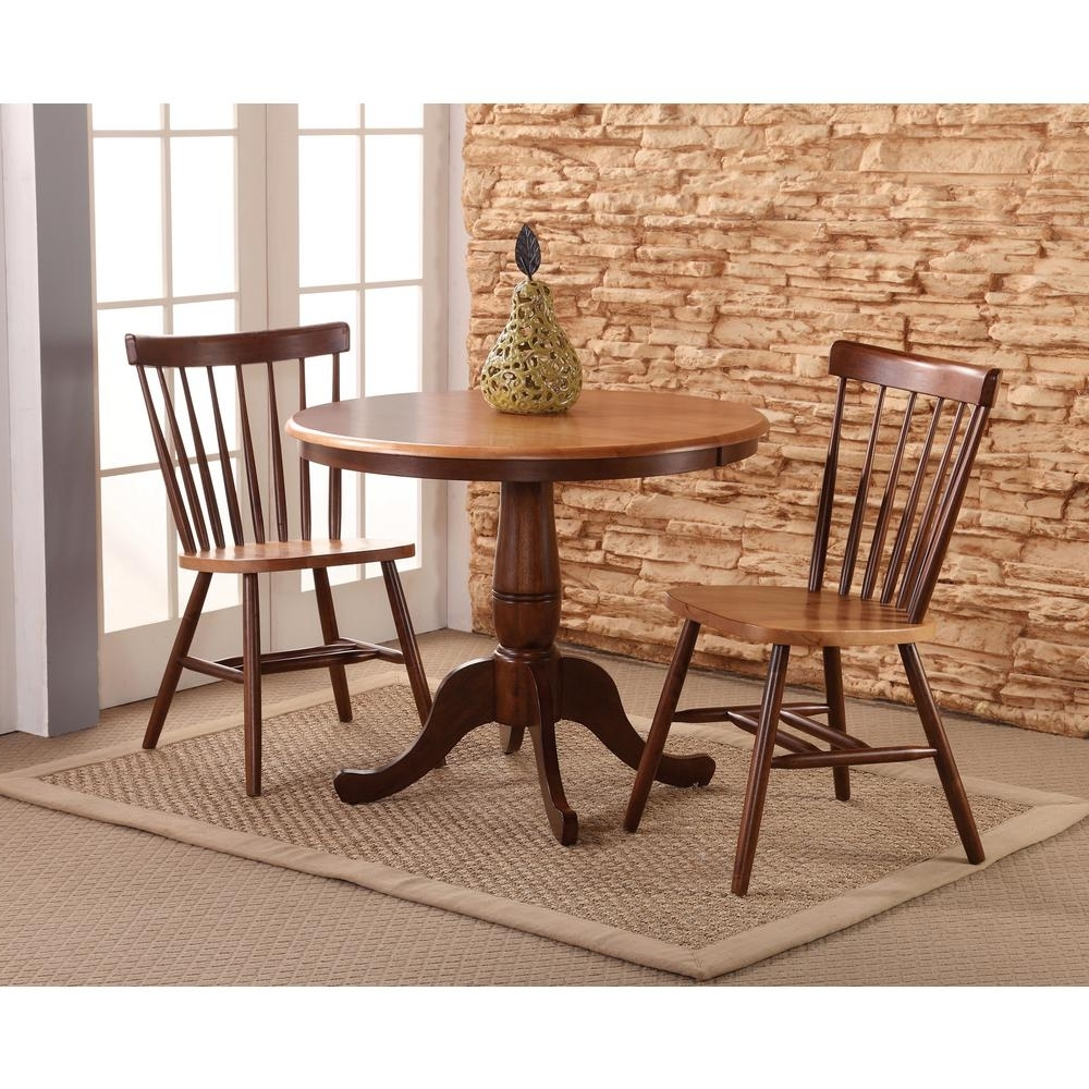 Well Known International Concepts Copenhagen 3 Piece Cinnamon And Espresso Within Dining Table Sets For  (View 25 of 25)