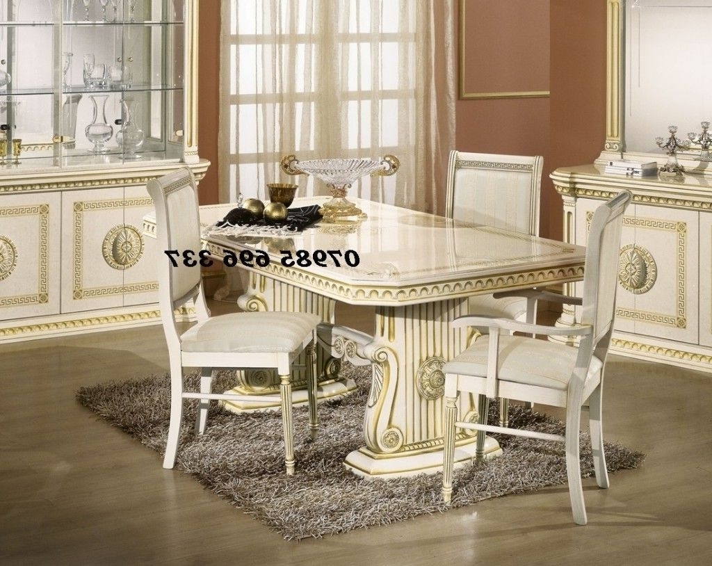 Well Known Italian Dining Tables Regarding Rossella Italian Dining Table With 6 Chairs In High Gloss With Gold (View 12 of 25)