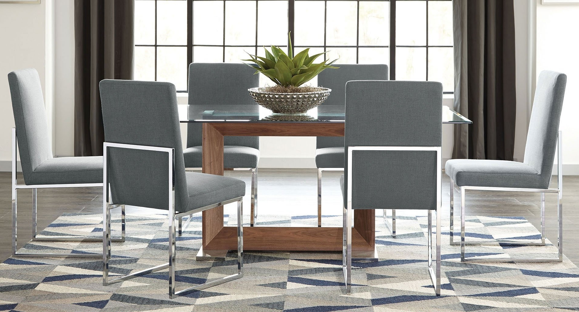 Well Known Jaxon 5 Piece Round Dining Sets With Upholstered Chairs Throughout Jackson Modern Glass Dining Set W/ Grey Chairs – Dining Room And (View 21 of 25)